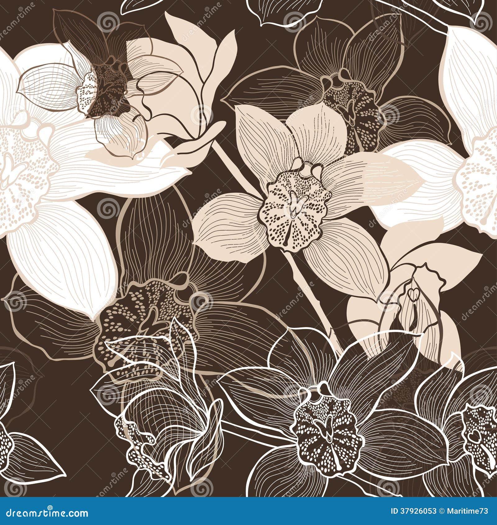 Безшовная предпосылка с орхидеями