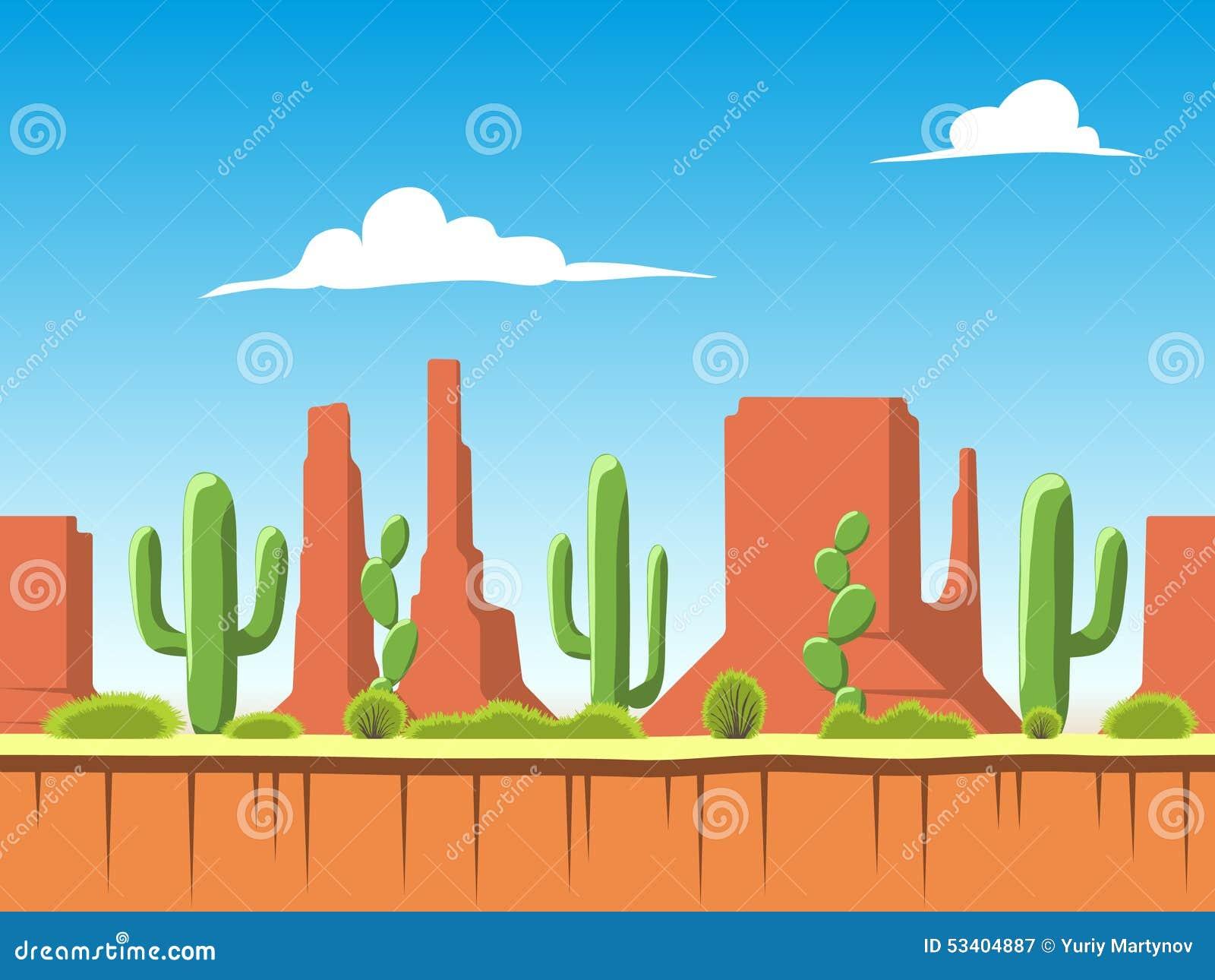 Безшовная предпосылка с почвой, кустами, горами и слоями облачного неба