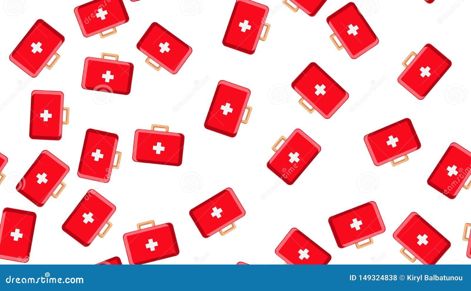 Безшовная текстура картины красных медицинских pharmaceptic бортовых аптечек с медициной, лекарств на белой предпосылке r