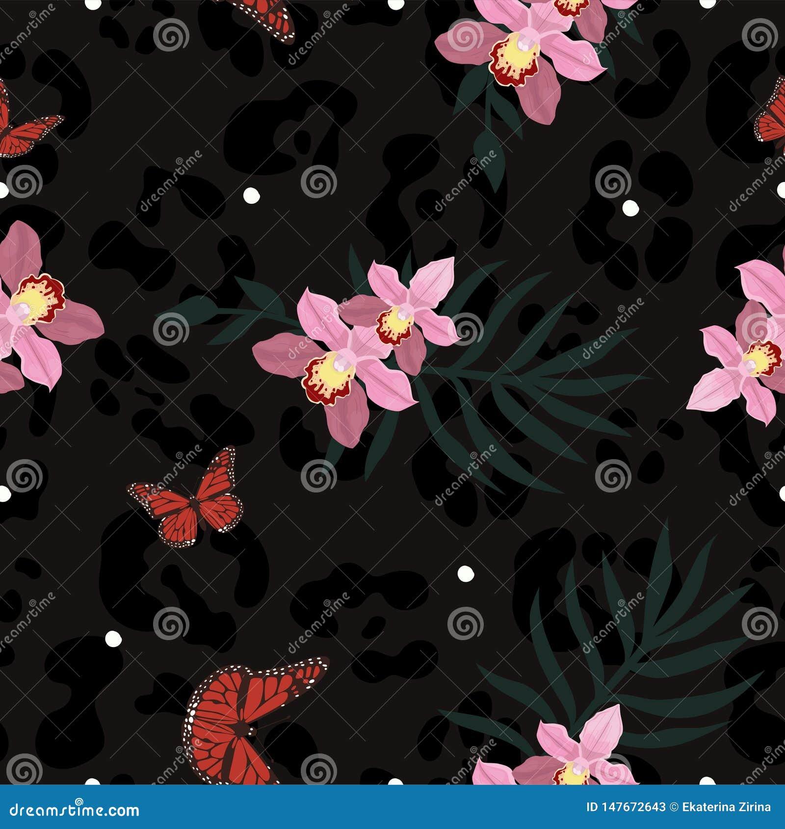 Безшовная текстура кожи пантеры совмещенная с orchiaa, бабочками и листьями ладони Картина вектора