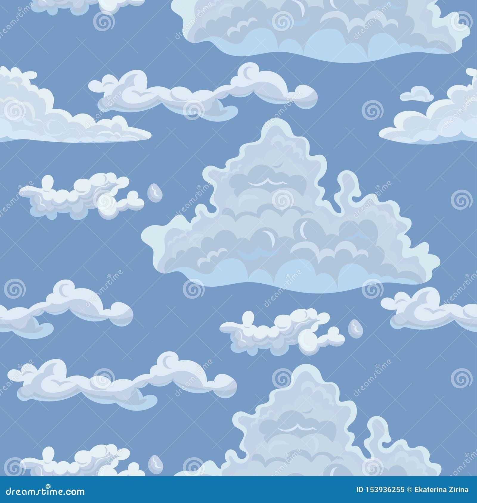 Безшовная текстура с облаками Шаблон вектора для ткани, упаковочной бумаги и другой