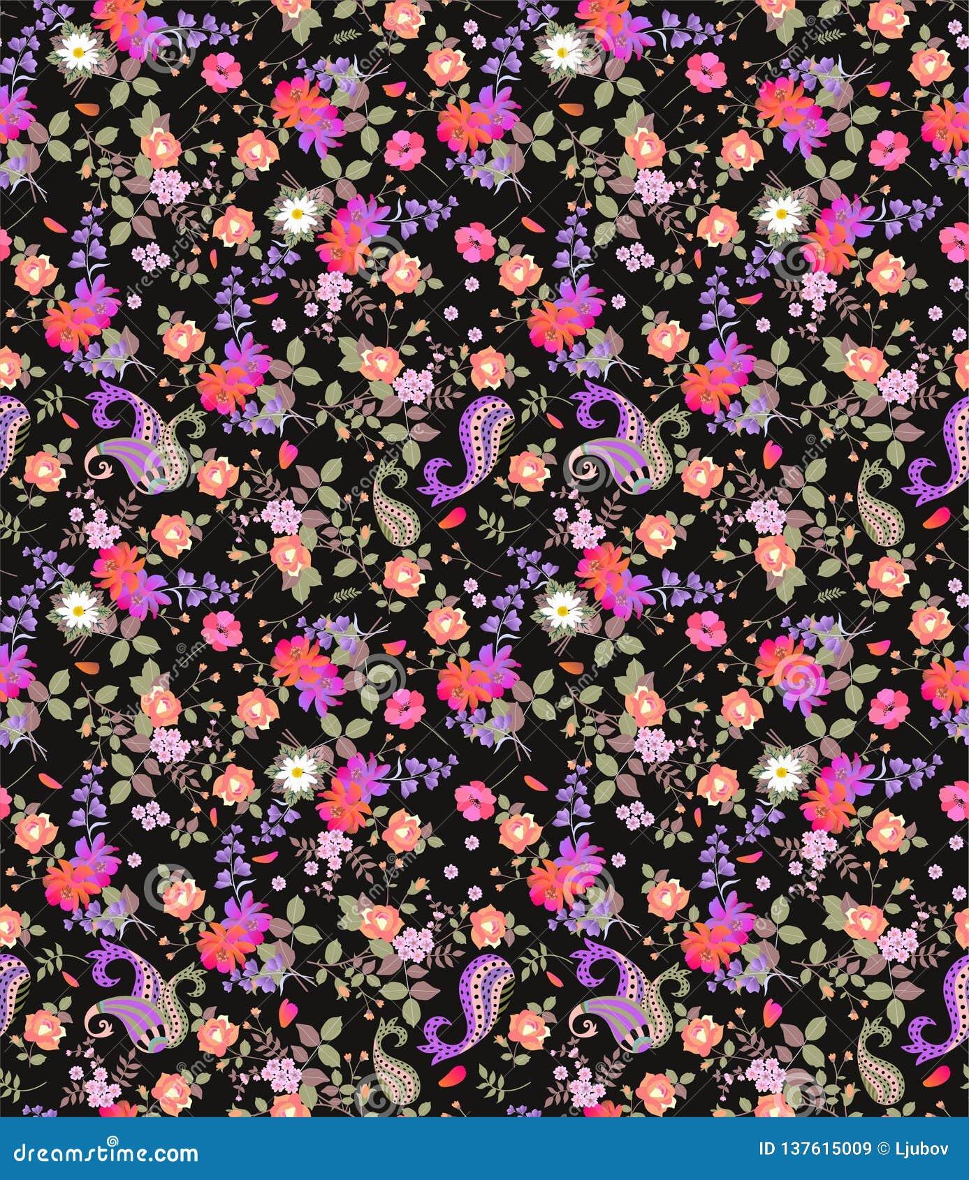 Безшовная флористическая картина лета с Пейсли, букетами роз, маргаритки, космоса и цветков колокола на черной предпосылке