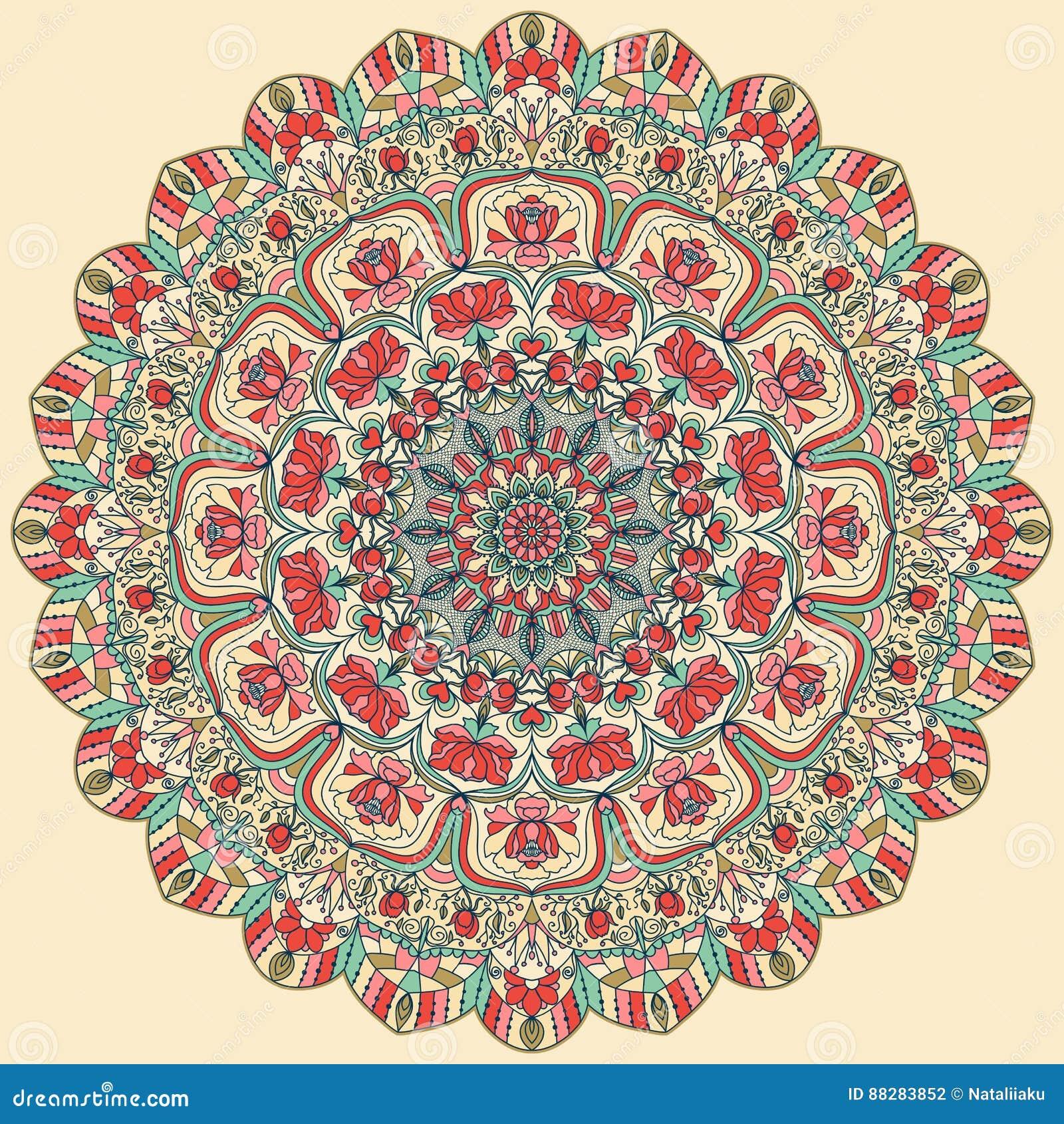 Безшовной красочной флористической картина нарисованная рукой с мандалой