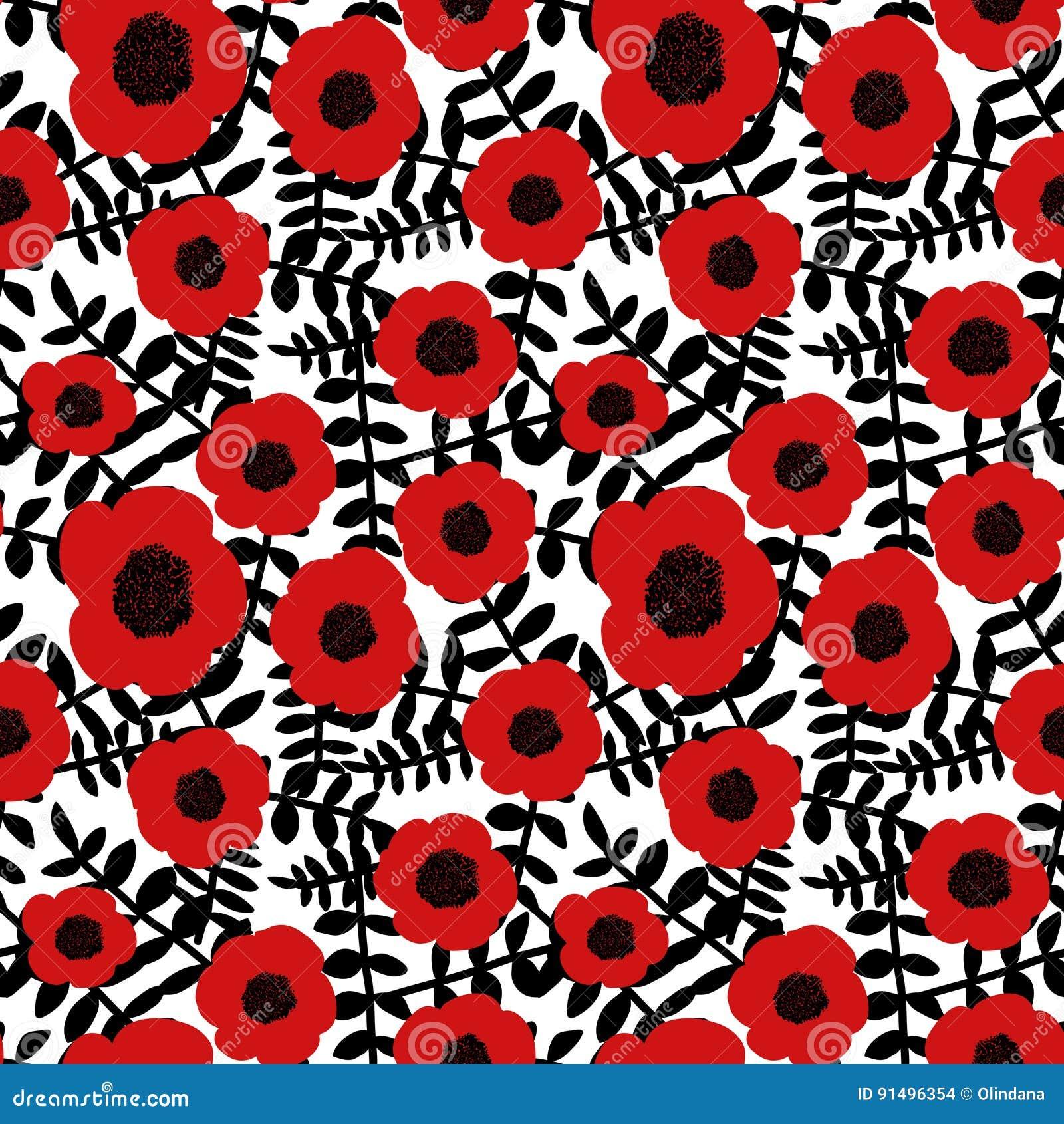 Безшовной цветков мака цветочного узора нарисованные рукой хворостины абстрактных красных черные выходят белая предпосылка, ткань