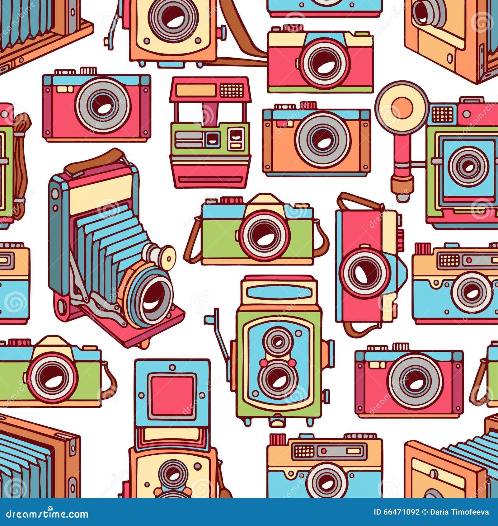 Безшовные красочные винтажные камеры