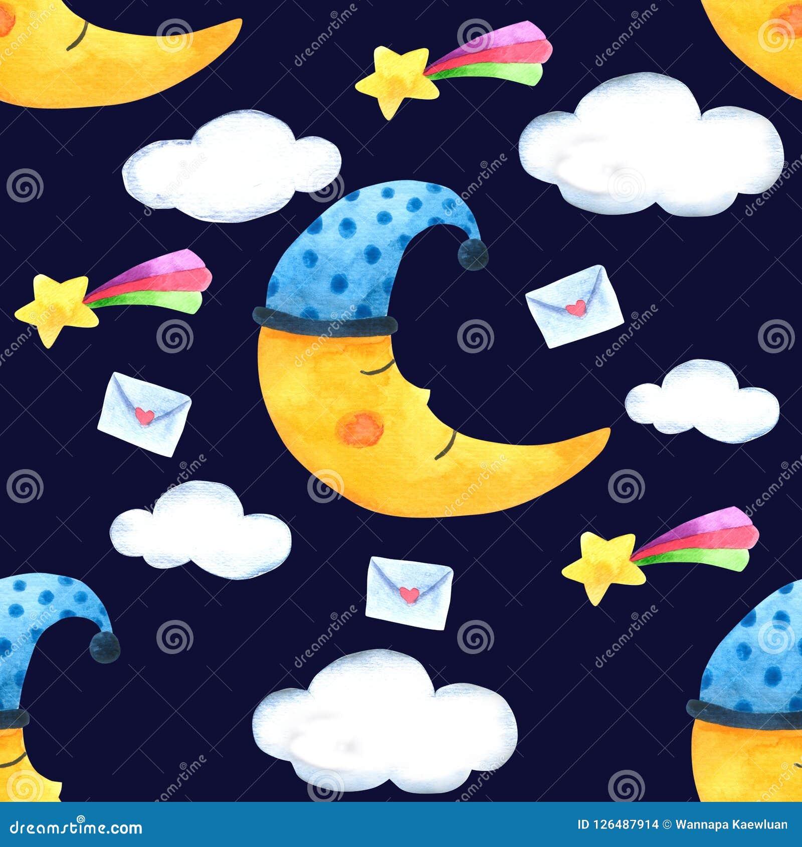 Безшовные луна картины и облако для упаковки, ткань печати Изображение акварели нарисованное рукой совершенное в случаи конструир