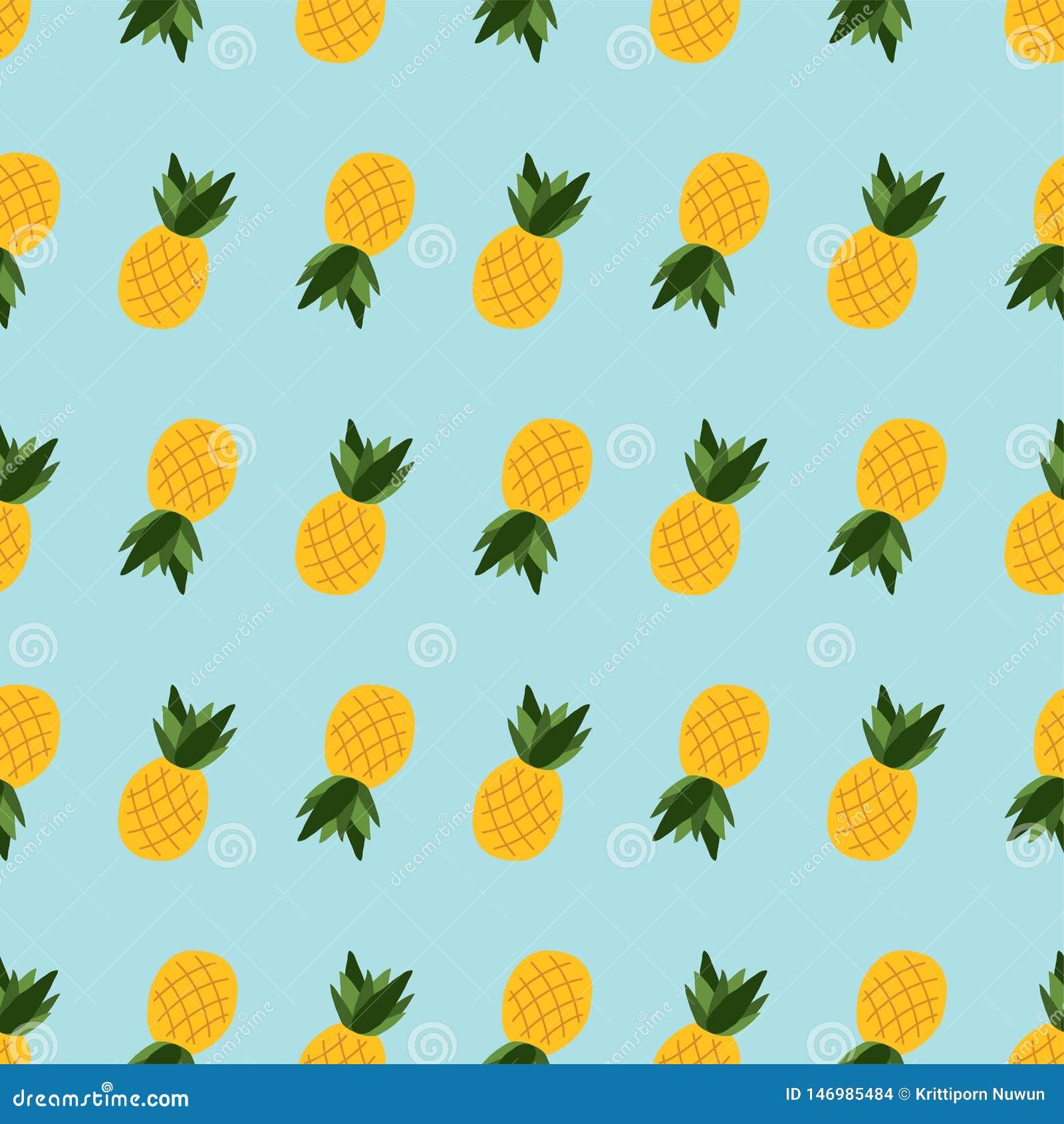 Безшовный ананас картины на голубой предпосылке