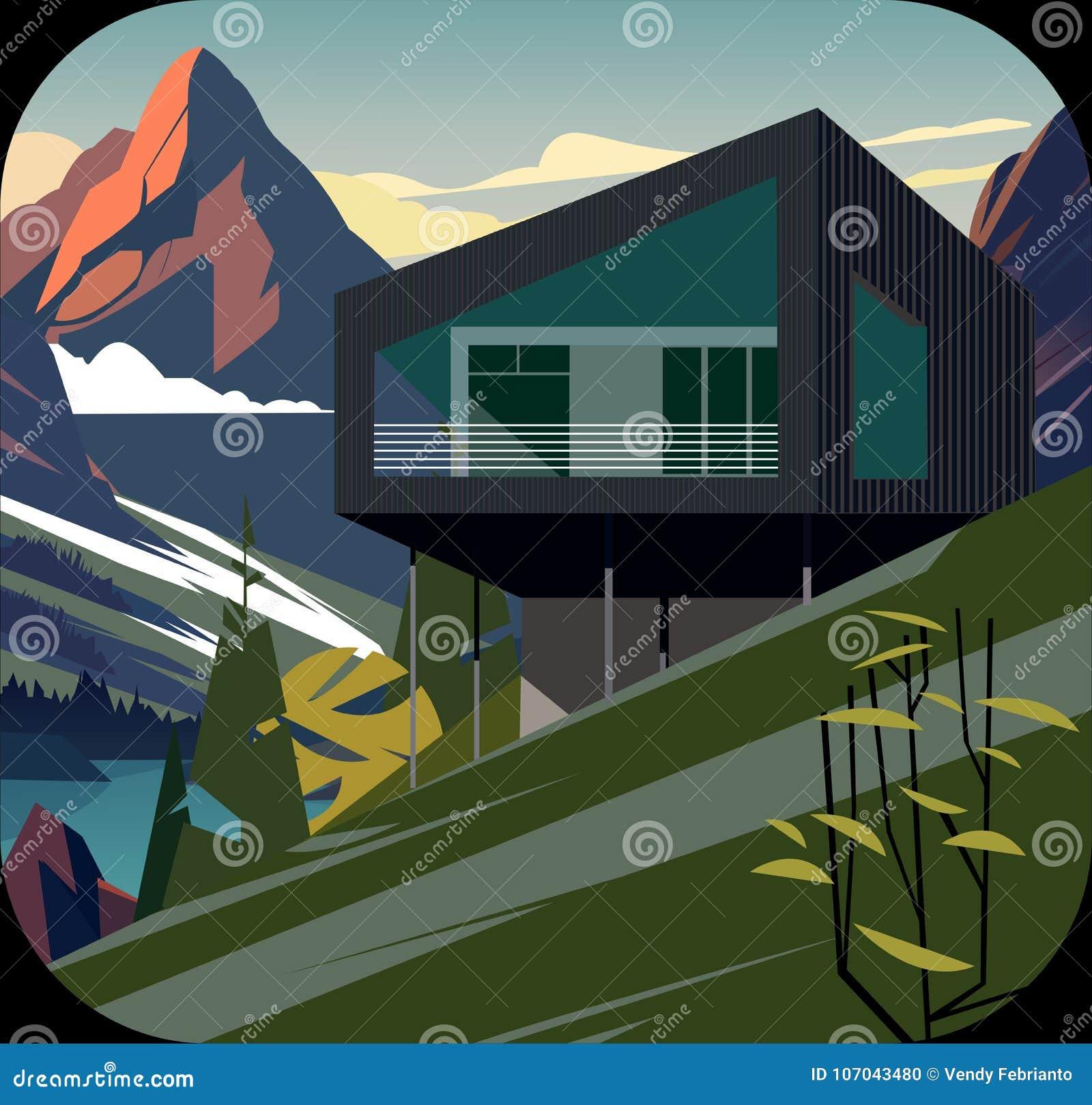 Безшовный естественный ландшафт, дом с рекой и гора