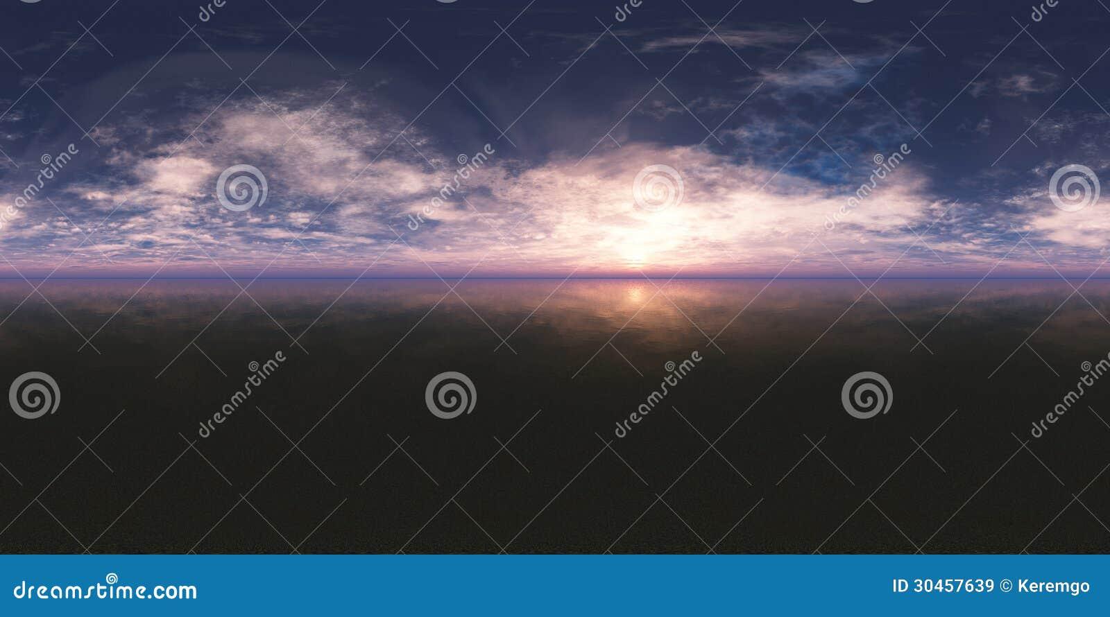 Безшовный заход солнца панорамы 360 неб