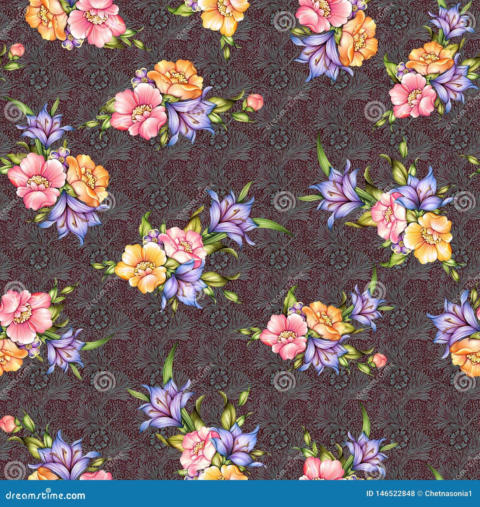 Безшовный классический цветок с предпосылкой текстуры