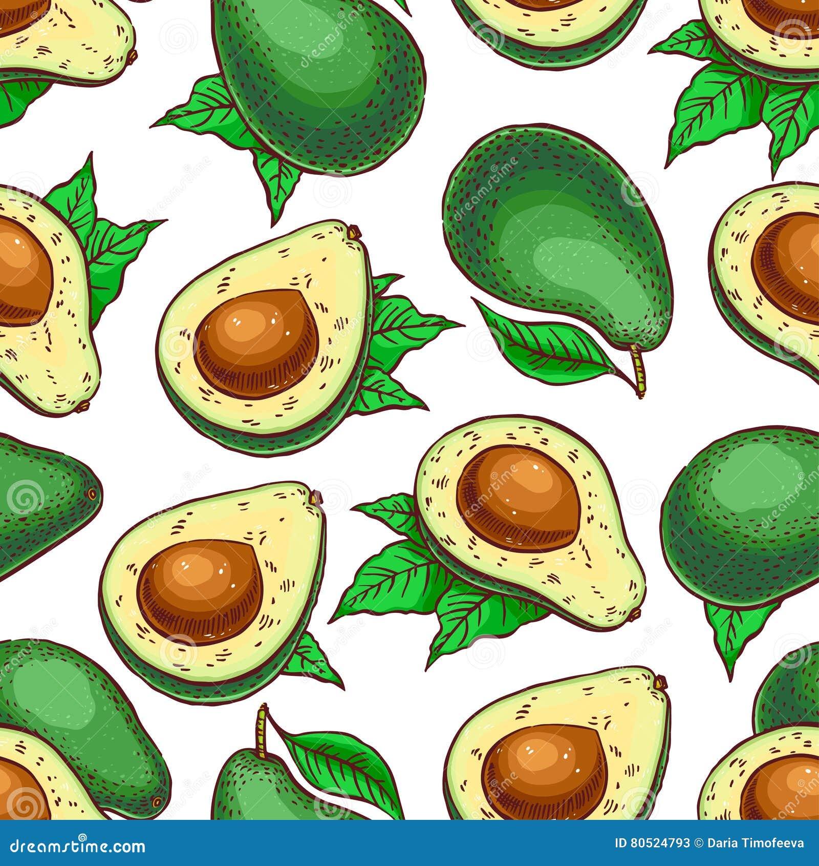 Безшовный красочный авокадо
