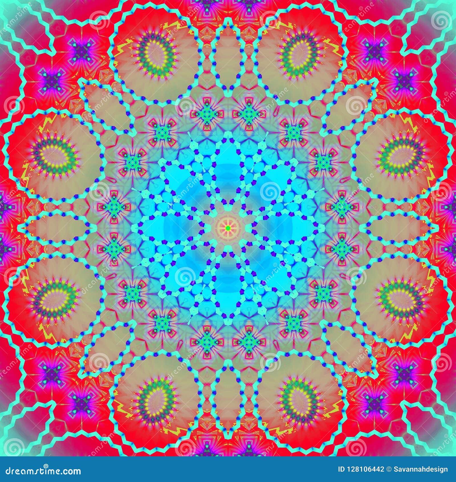 Безшовный орнамент концентрического круга пестротканый