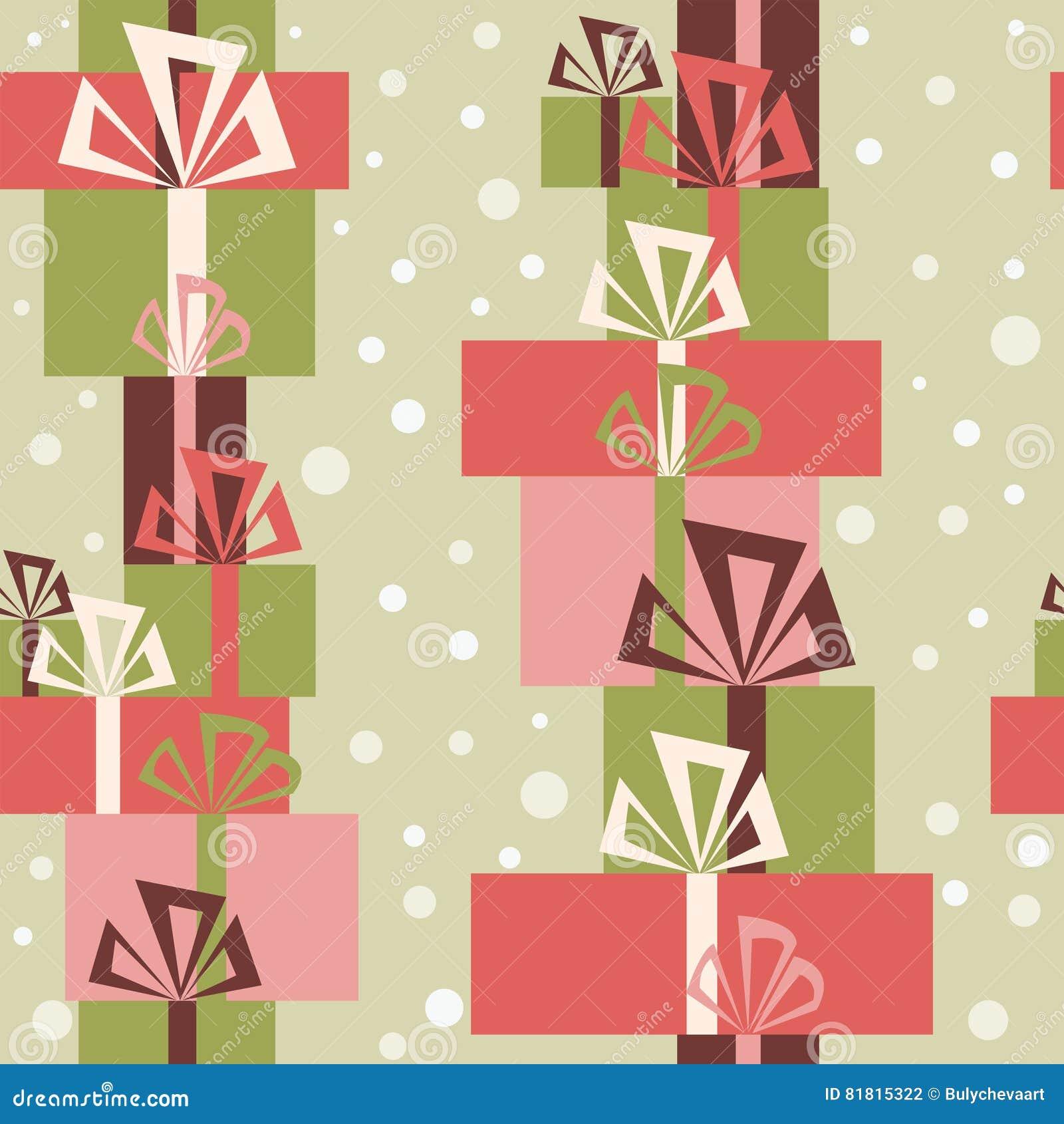 Безшовный орнамент с разнообразие подарками и снегом рождества