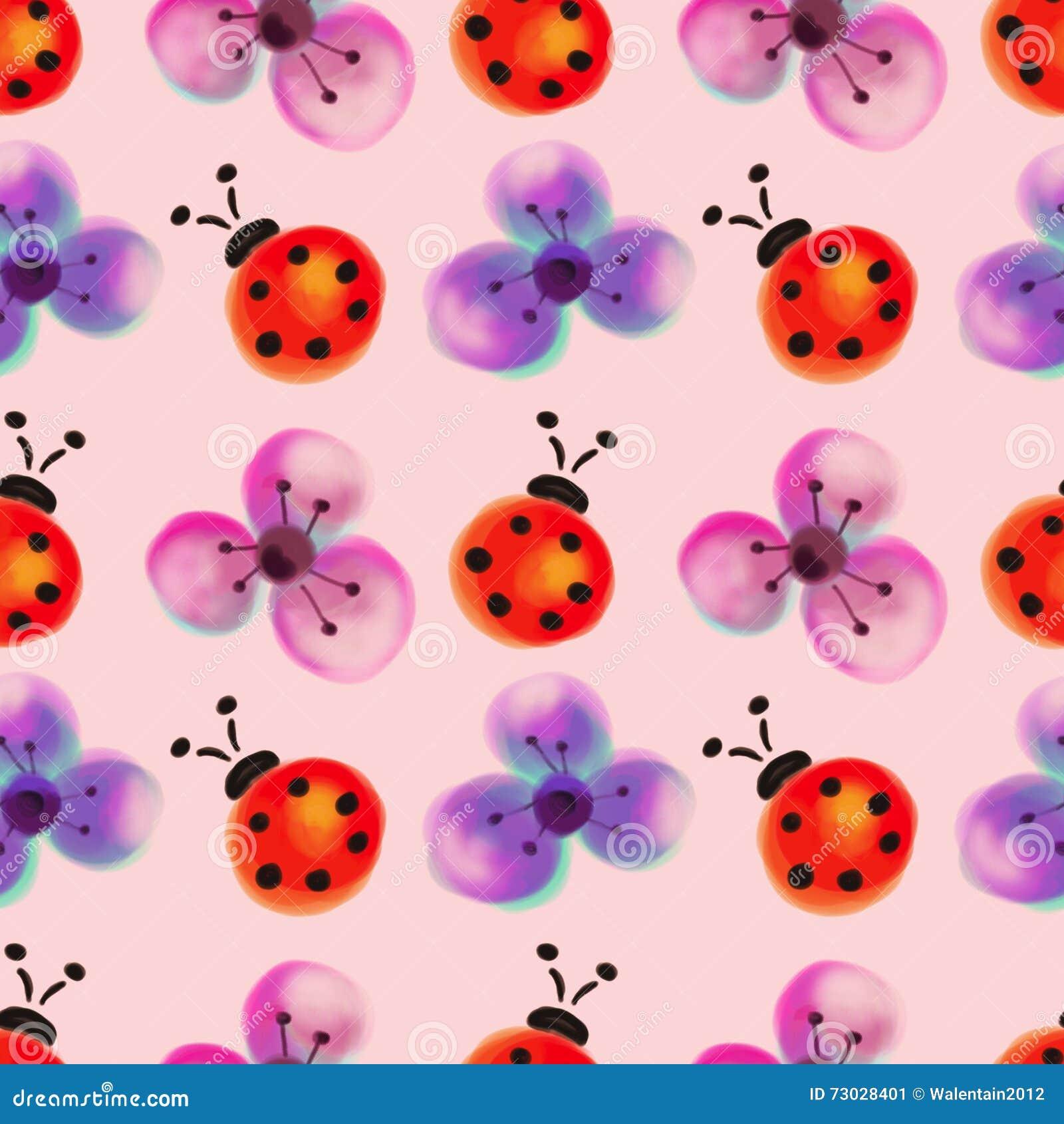 Безшовный цветочный узор с насекомыми Предпосылка акварели с цветками и ladybugs нарисованными рукой