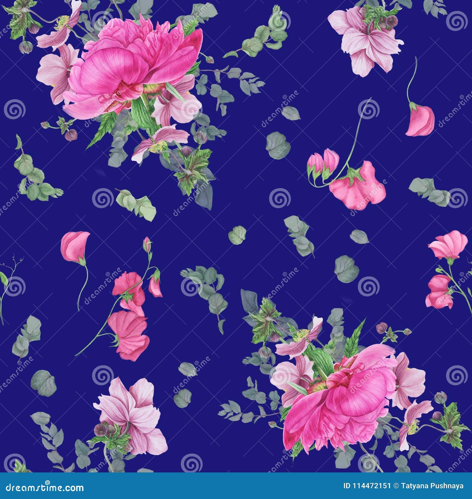 Безшовный цветочный узор с розовыми пионами, ветреницами, евкалиптом и розовым горохом
