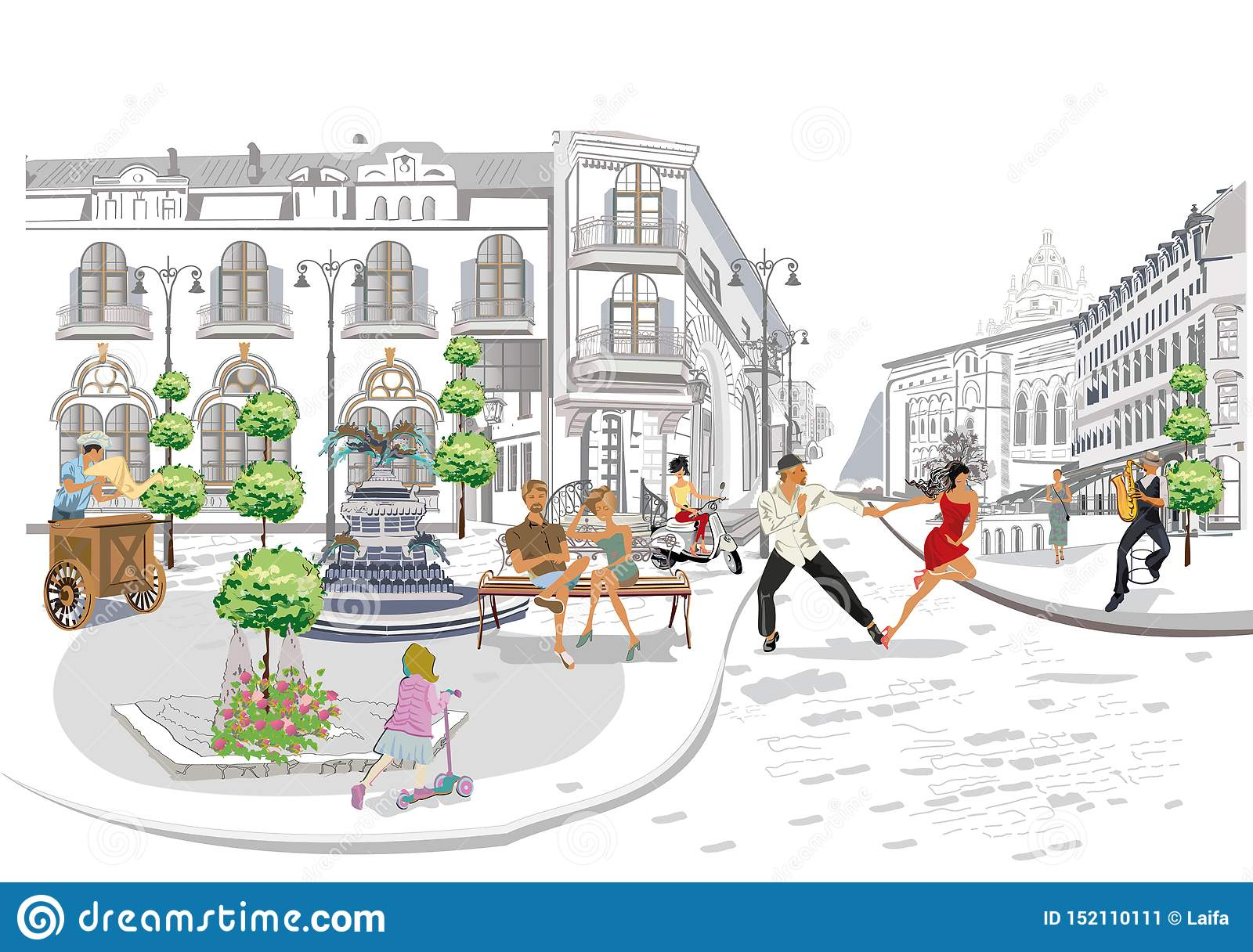 Series of the street cafes with fashion people, men and women, in the old city, vector illustration.