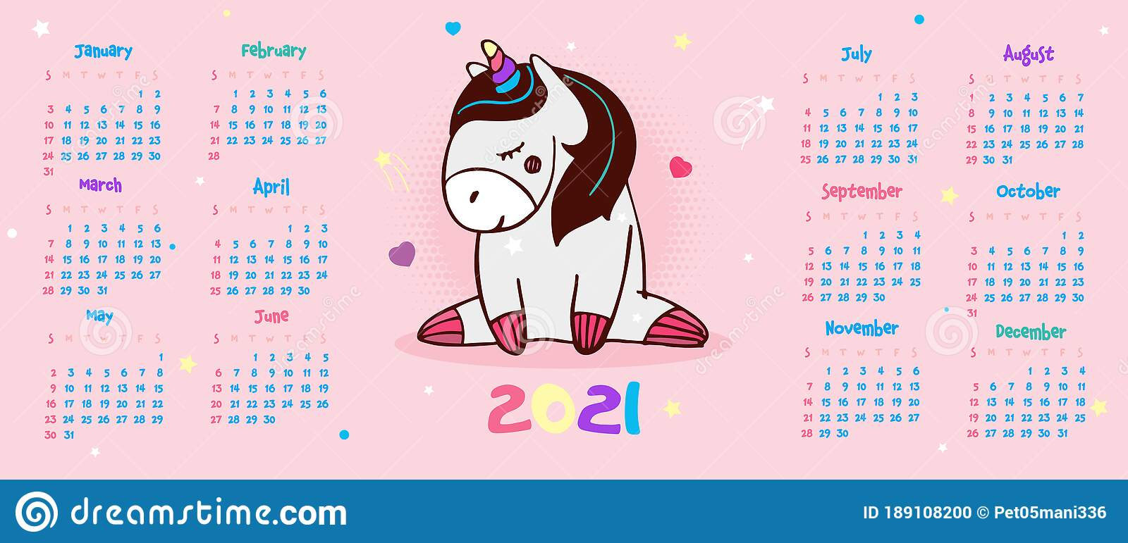 Unicorn Calendar 2022.Calendar 2021 Cute Unicorn With Closed Eyes Dreams On A Pink Background Vector Stock Vector Illustration Of Element Calendar 189108200