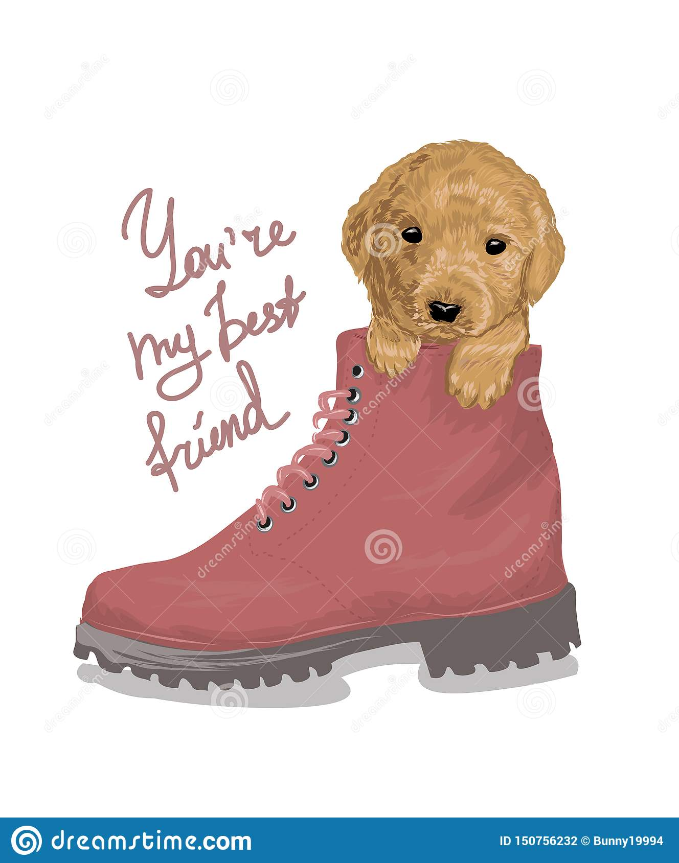 Best friend slogan with puppy in the boot illustration. Perfect for decor such as posters, wall art, tote bag, t-shirt print