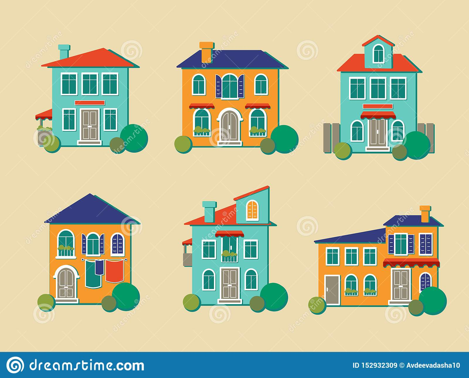 Vector icons of houses in flat style