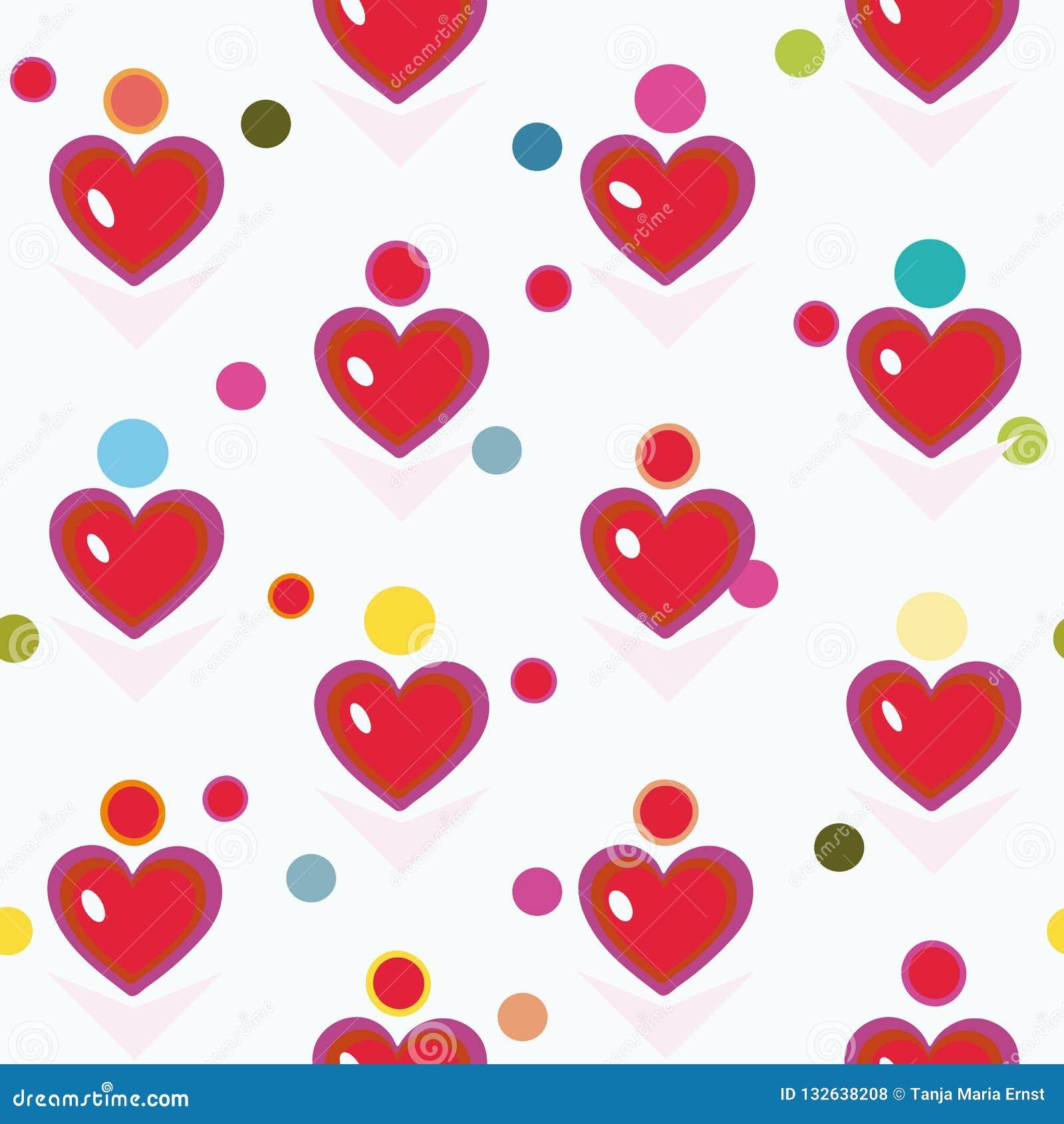 Белая картина с красными сердцем и точками