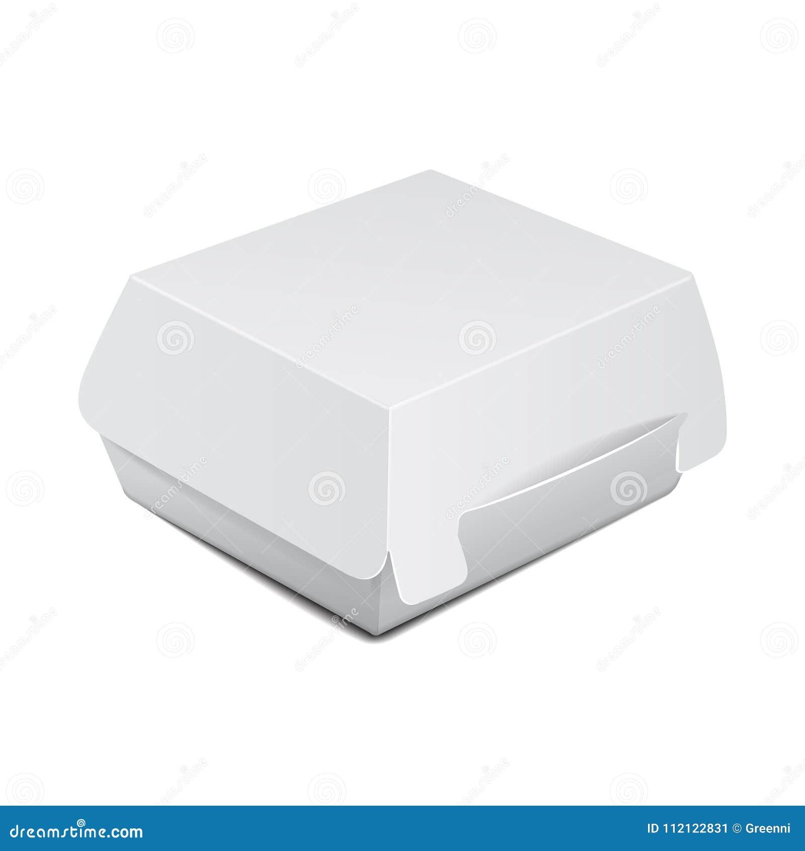 Белая коробка еды, упаковывая для бургера, обед, фаст-фуд, сандвич Пакет продукта вектора на белой предпосылке