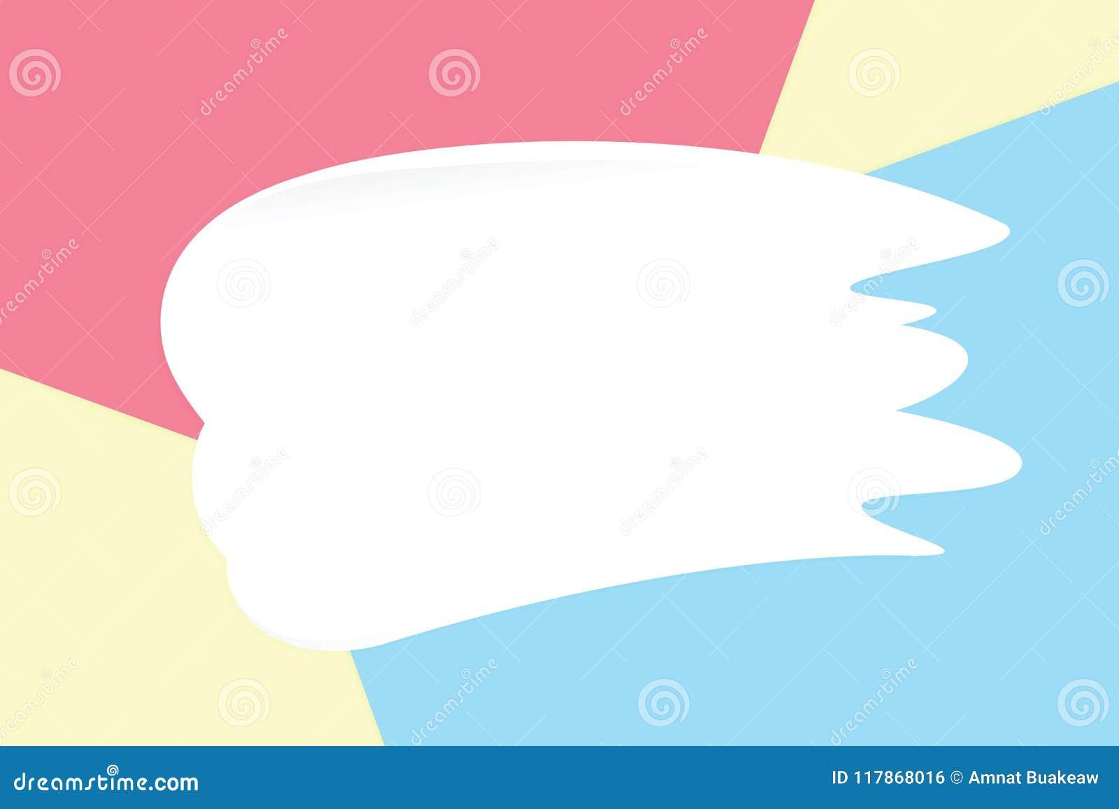 Белая сливк мазка на красочных пастельных мягких бумажных косметиках предпосылки для экземпляра размечает сообщение, минимальный