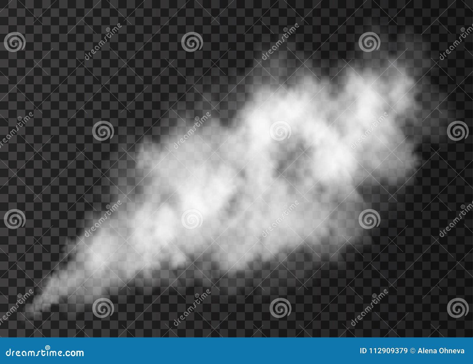 Белая слойка дыма изолированная на прозрачной предпосылке