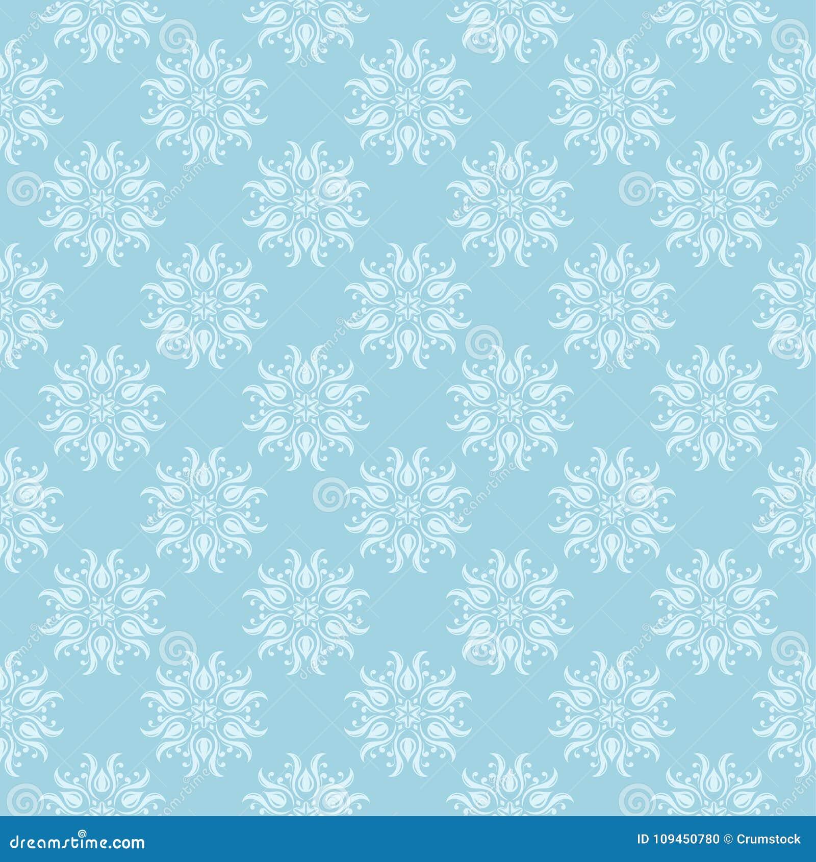 Белая флористическая безшовная картина на голубой предпосылке