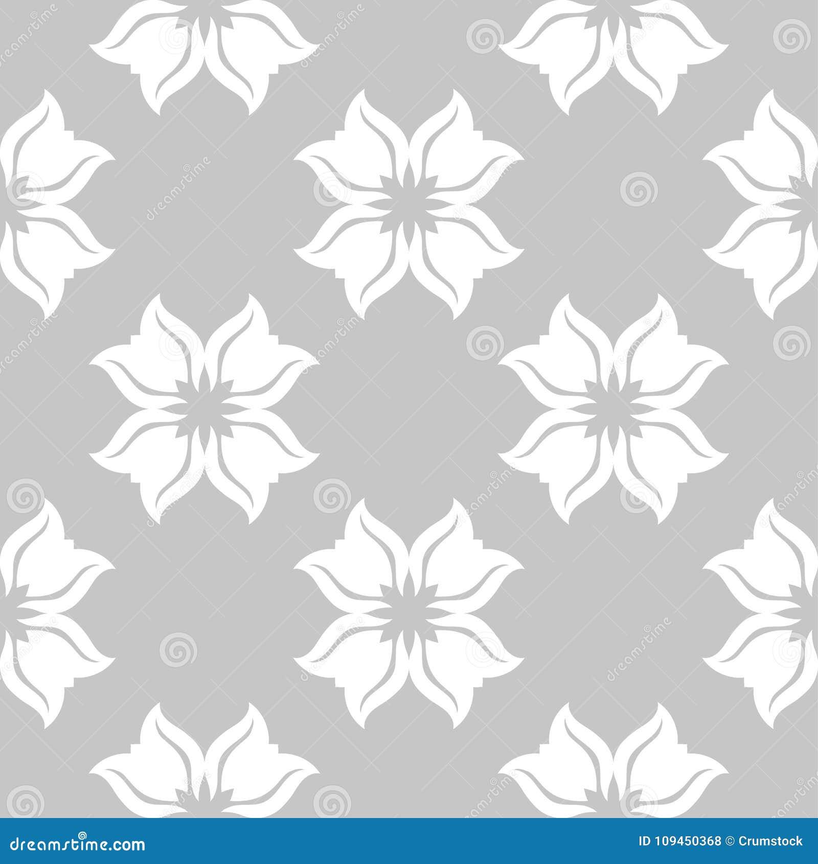 Белая флористическая безшовная картина на серой предпосылке