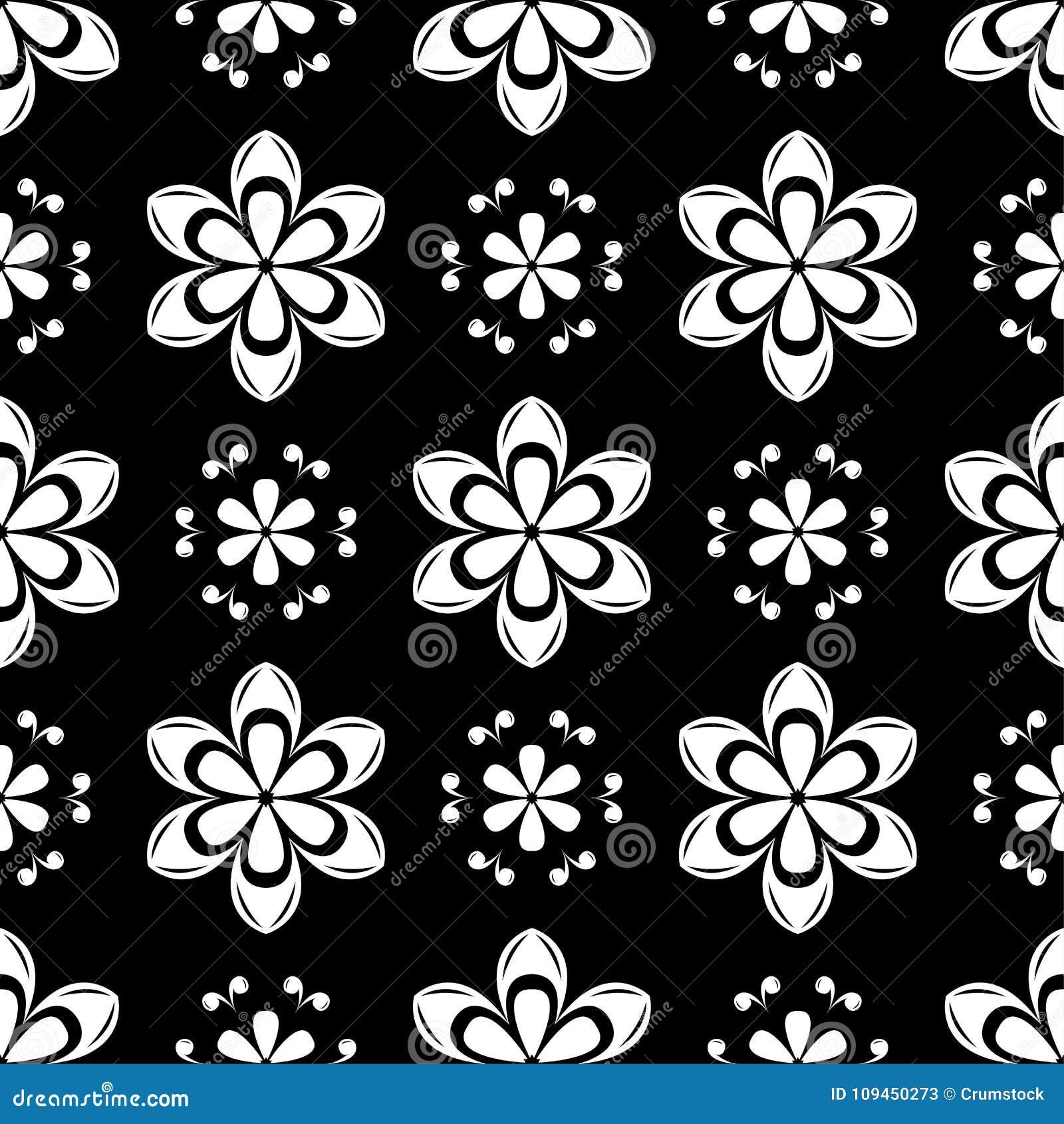 Белая флористическая безшовная картина на черной предпосылке