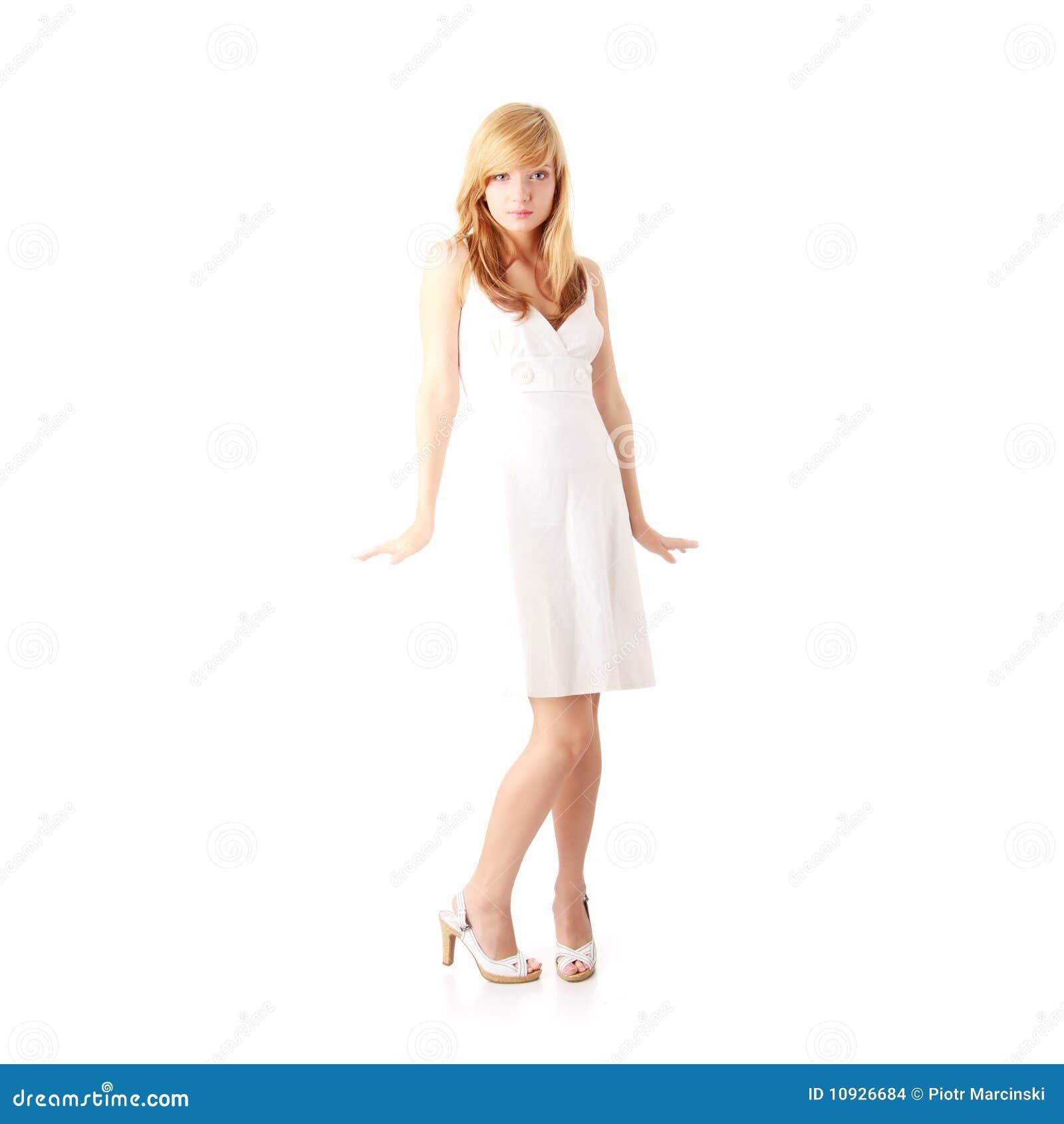 белизна белокурой девушки платья предназначенная для подростков