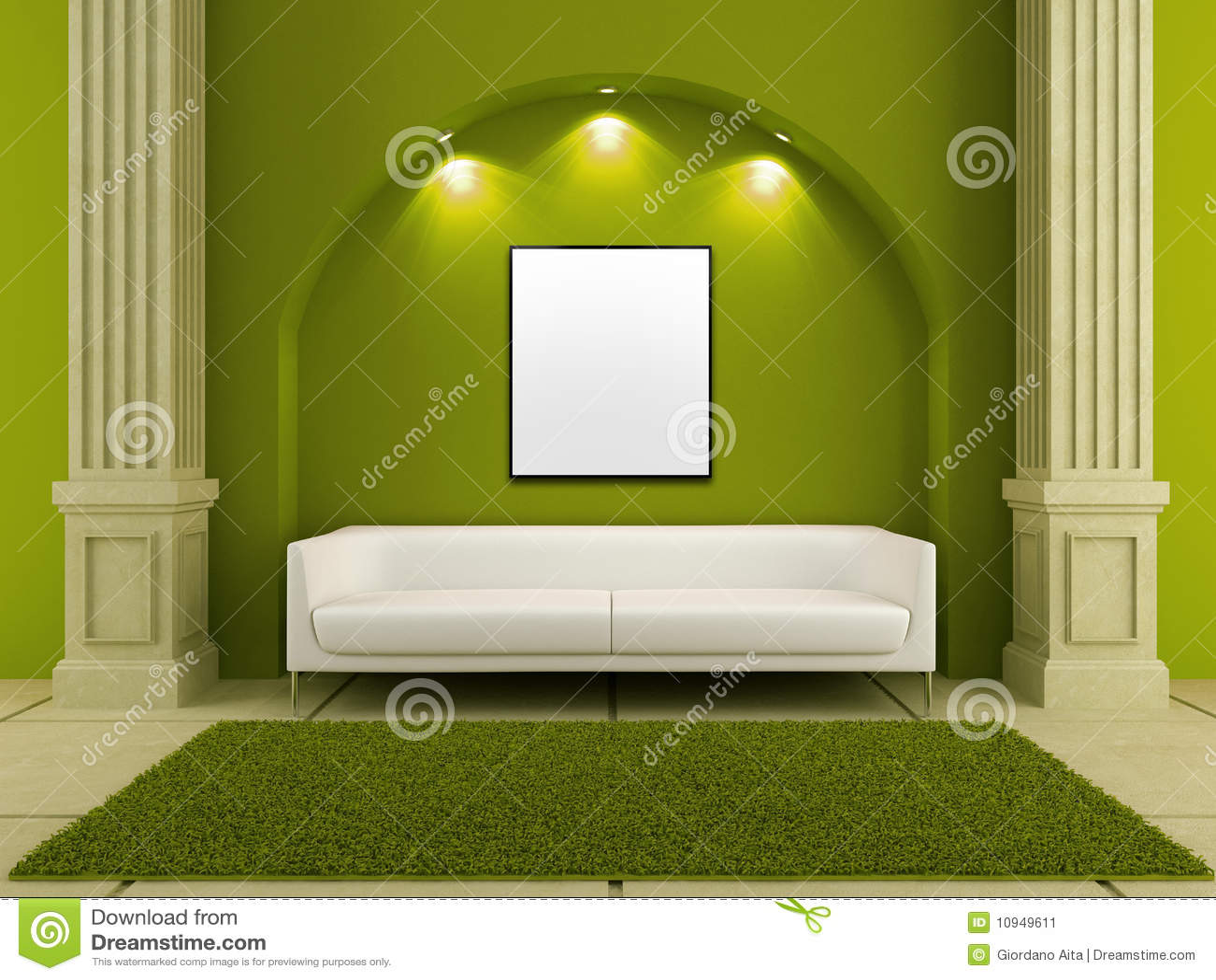 белизна комнаты интерьеров зеленого цвета кресла 3d