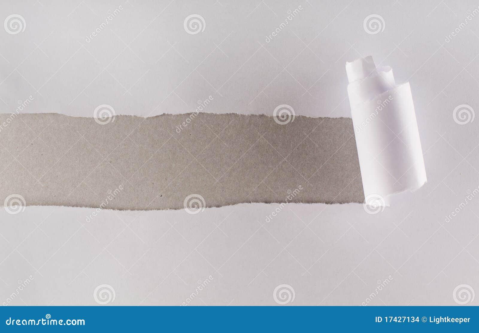 белизна серого слоя картона бумажная показывая сорванная