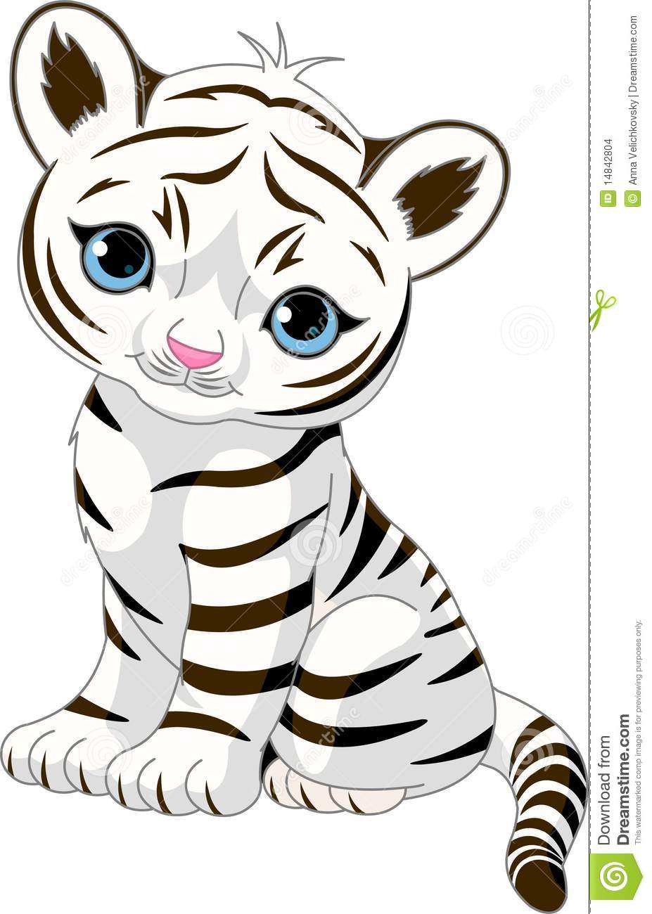 baby tiger cartoon black and white
