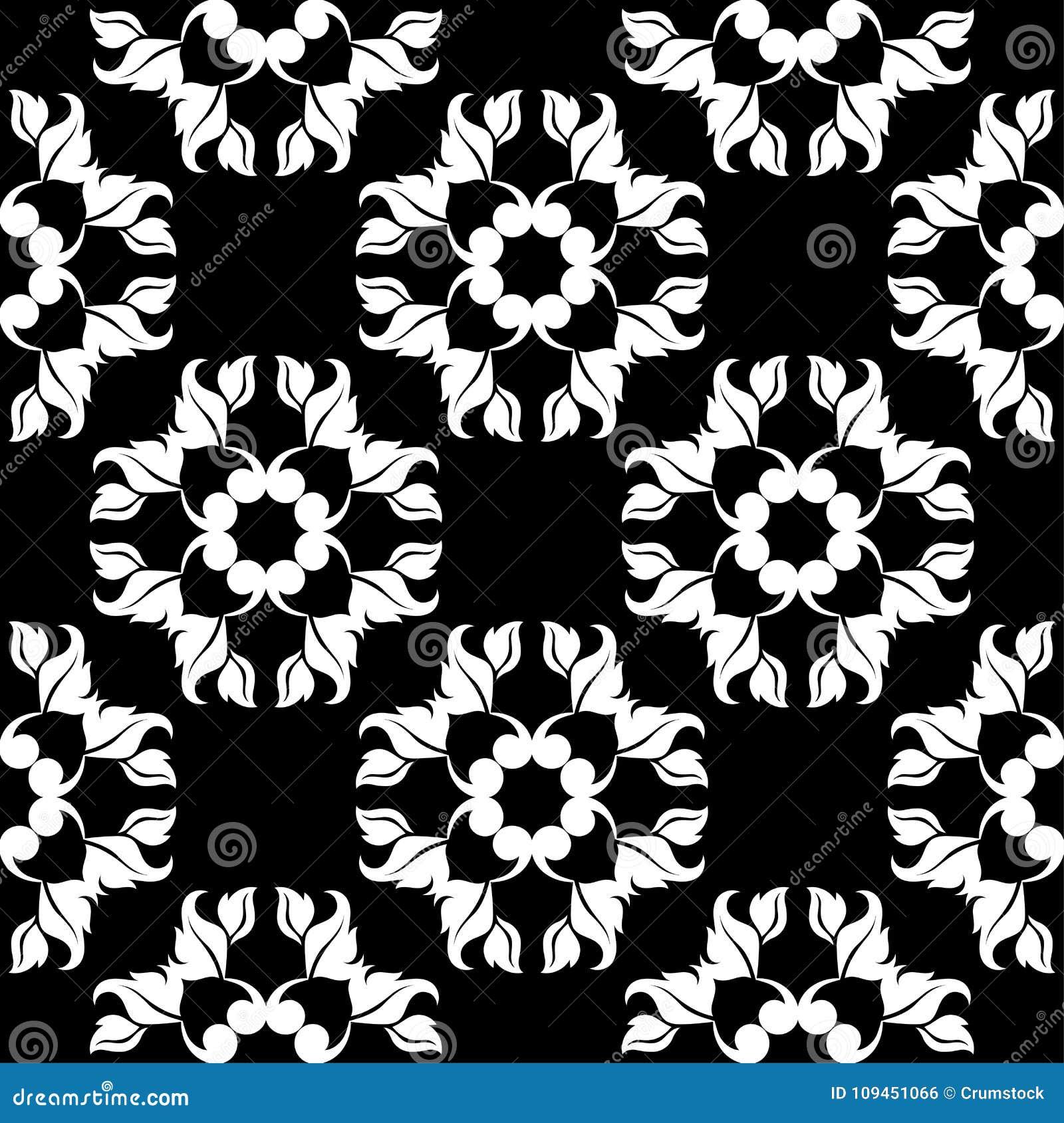 белизна черной флористической картины безшовная