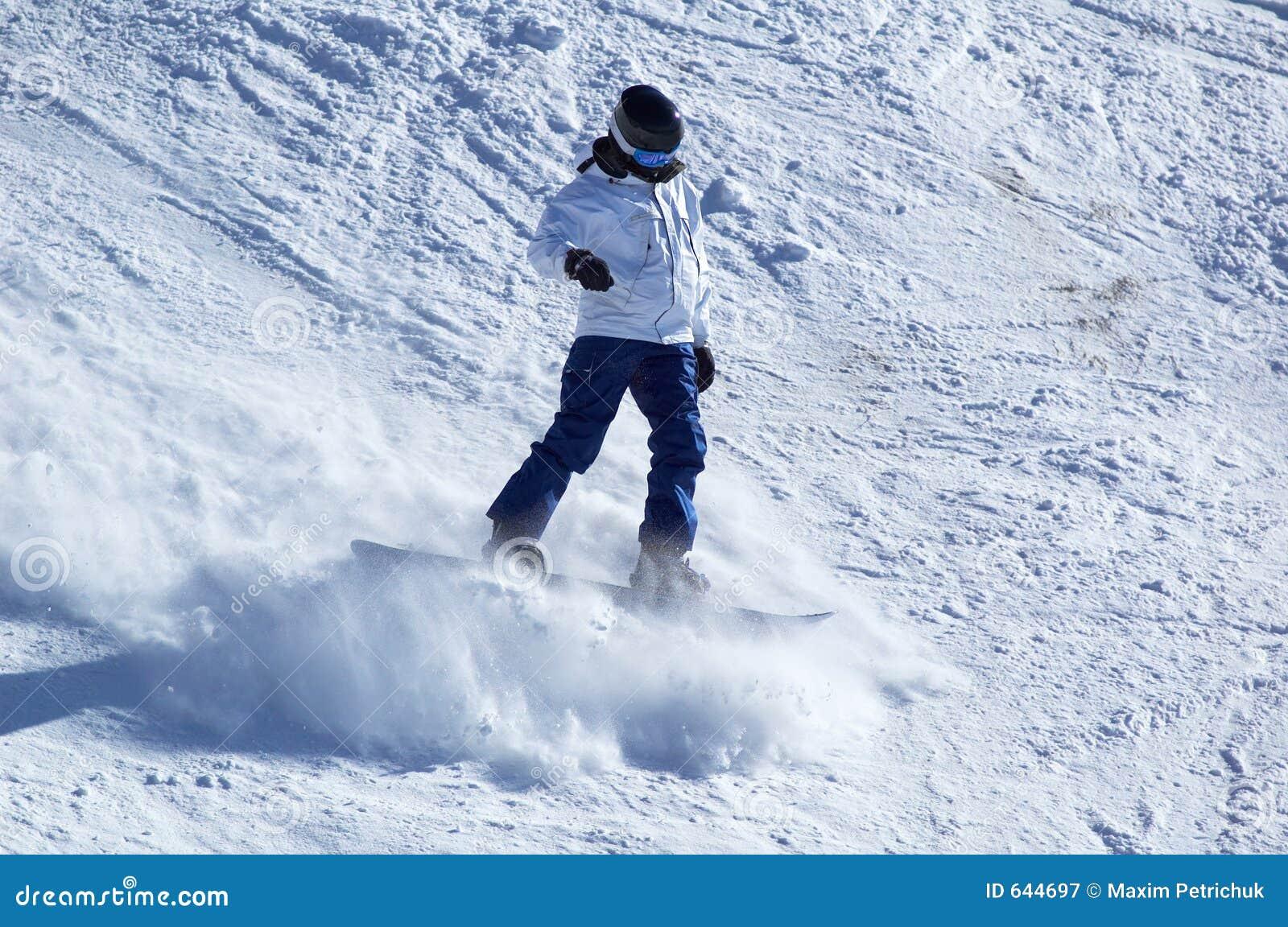 Download белизна snowboarder стоковое изображение. изображение насчитывающей airbrush - 644697