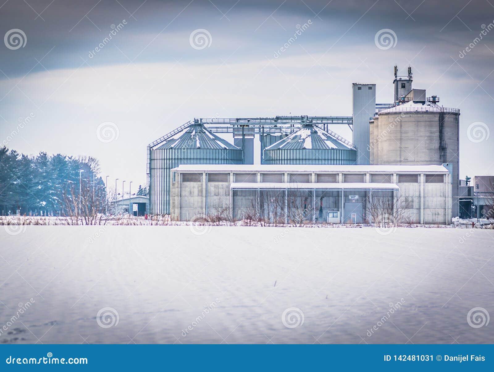 Белое изображение industy комплекса, фабрики масла sunfloer