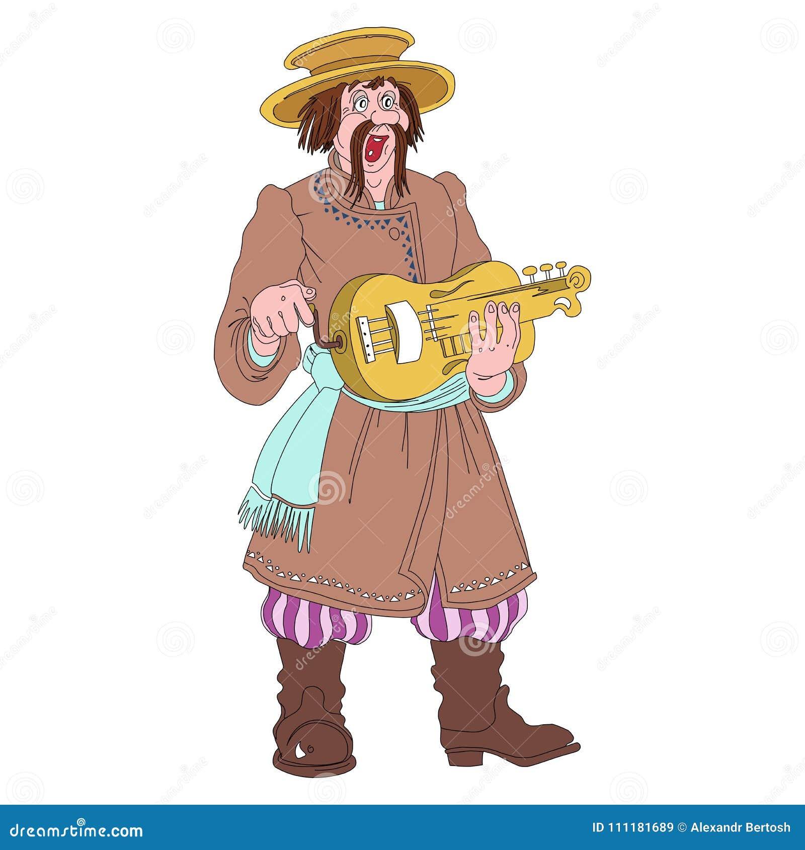 Белорусский фольклорный музыкант в национальном костюме