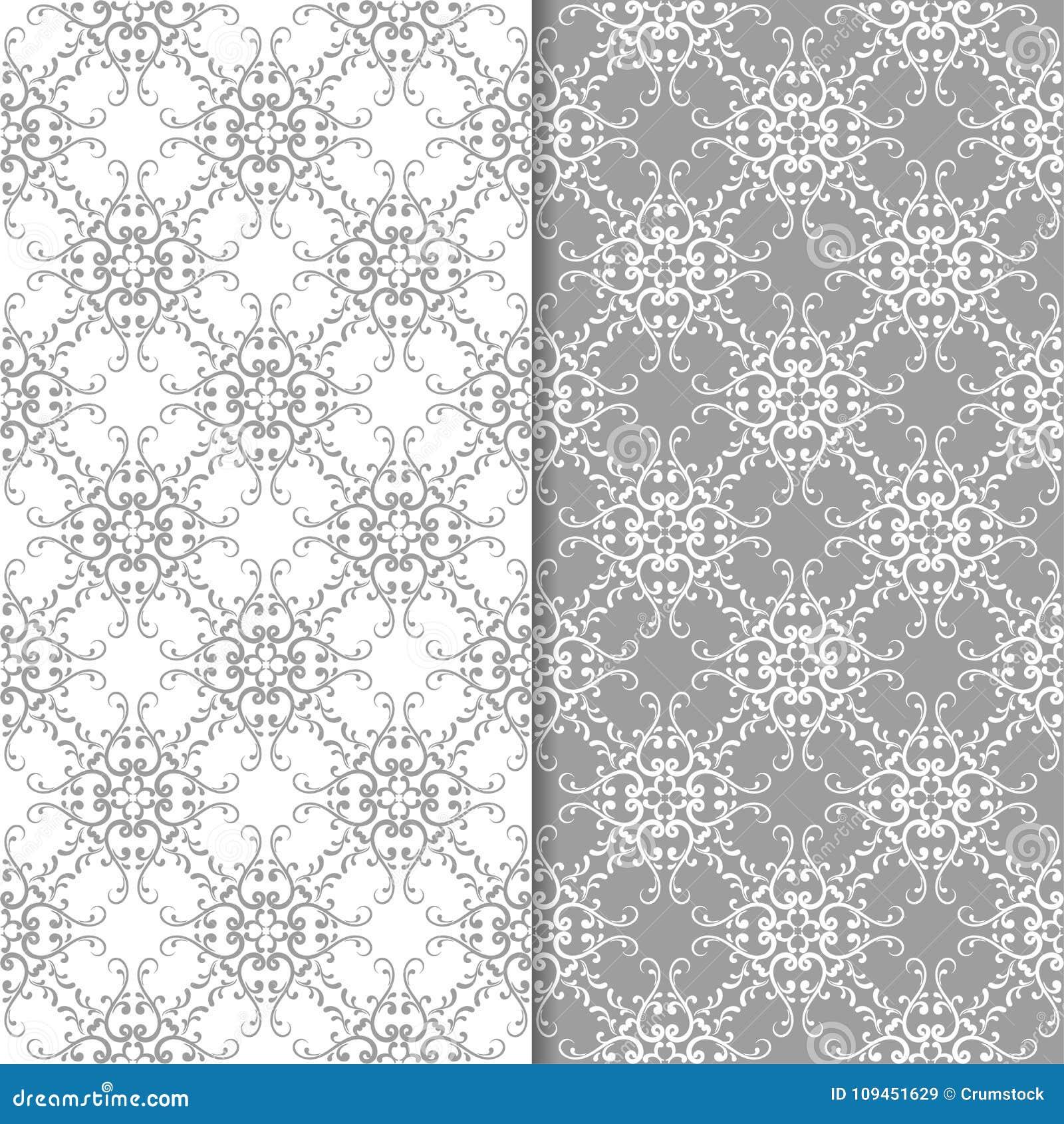 Белые и серые флористические орнаменты комплект предпосылок безшовный
