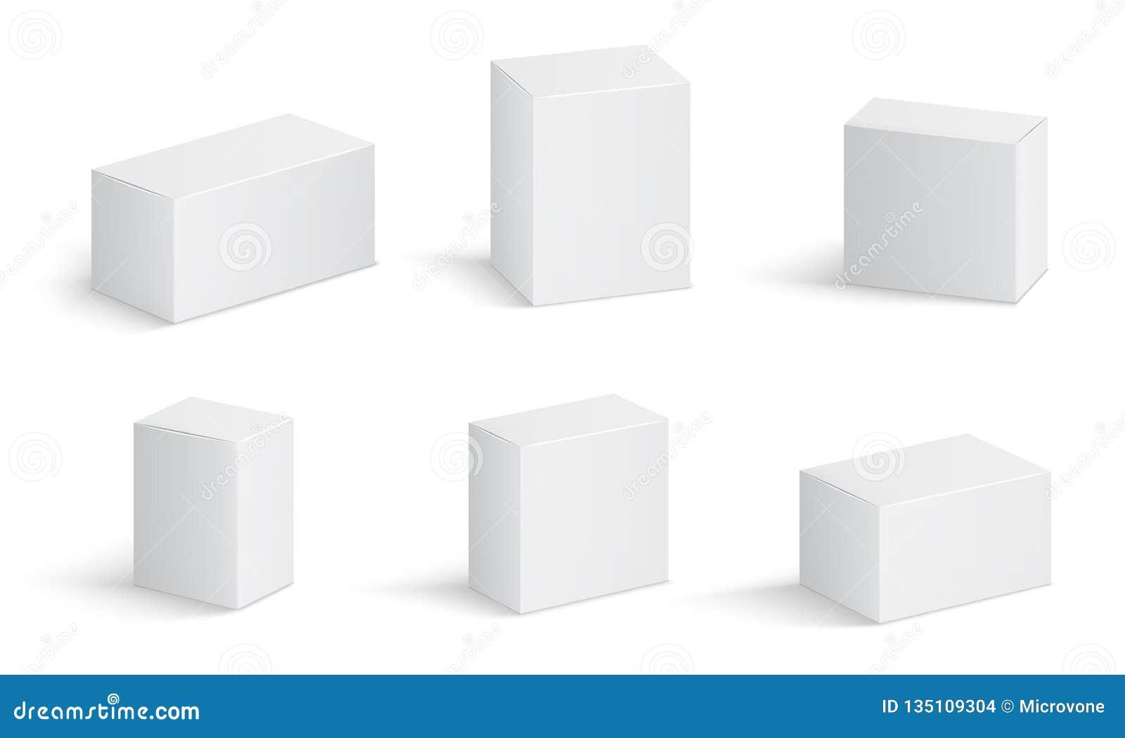 Белые картонные коробки Пустой пакет медицины в различных размерах Медицинский вектор квадратной коробки 3d продукта изолировал м