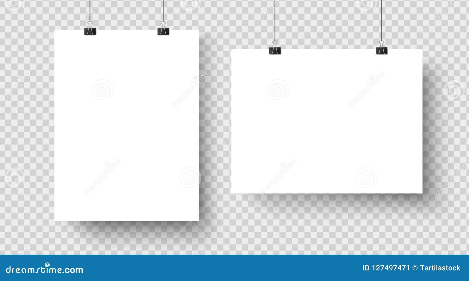 Белые пустые плакаты вися на связывателях Страница бумаги A4, лист на стене Модель-макет вектора