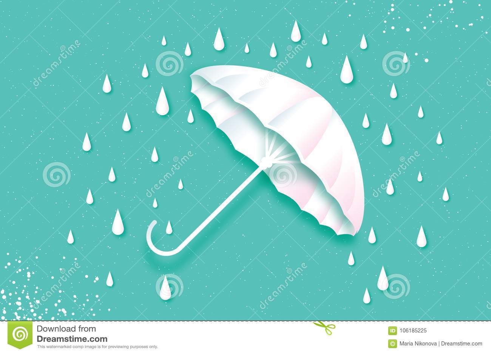 Белый зонтик Воздух с идти дождь Падение дождя Origami ненастно