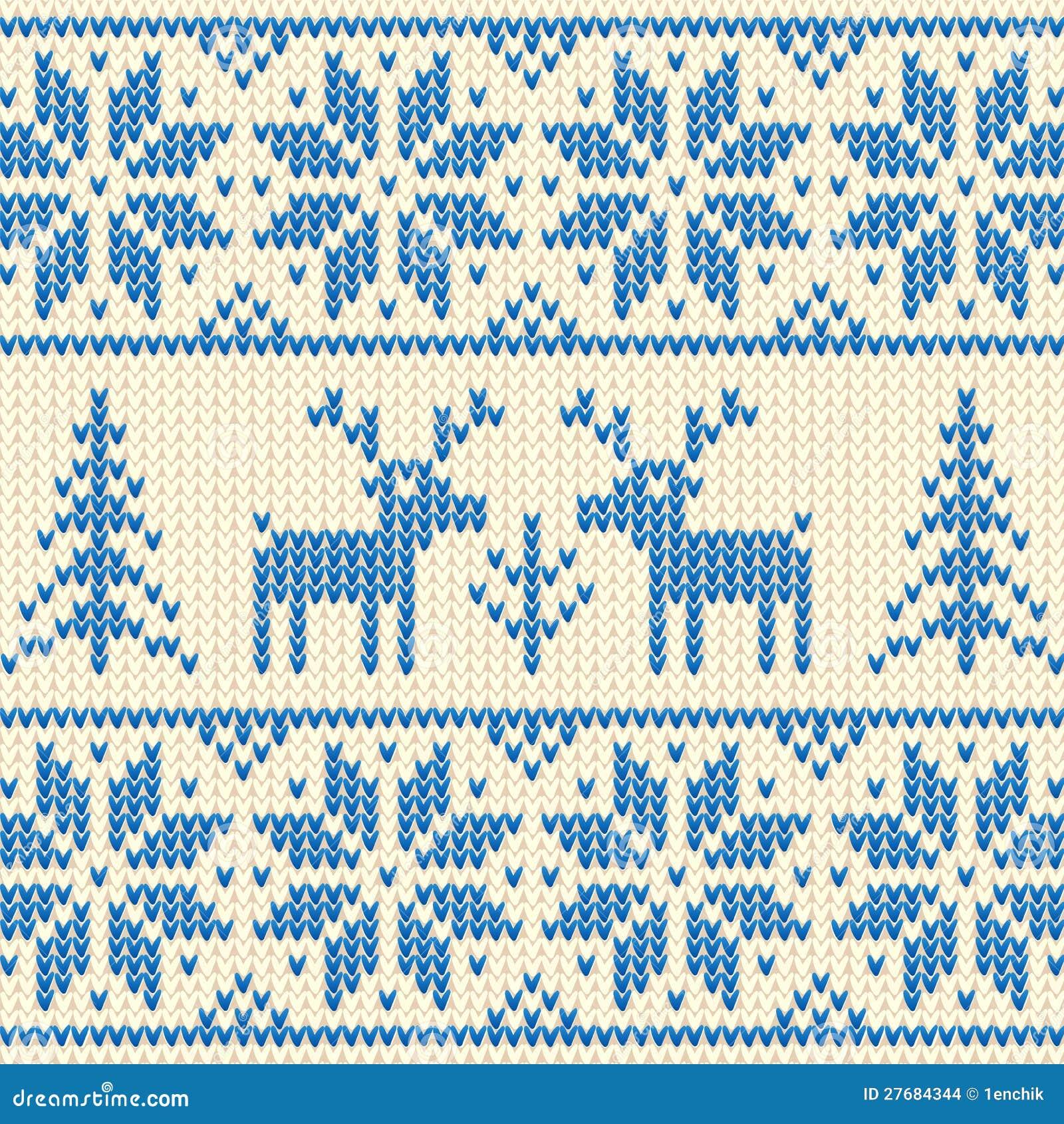 Вязанный орнамент из оленей 5