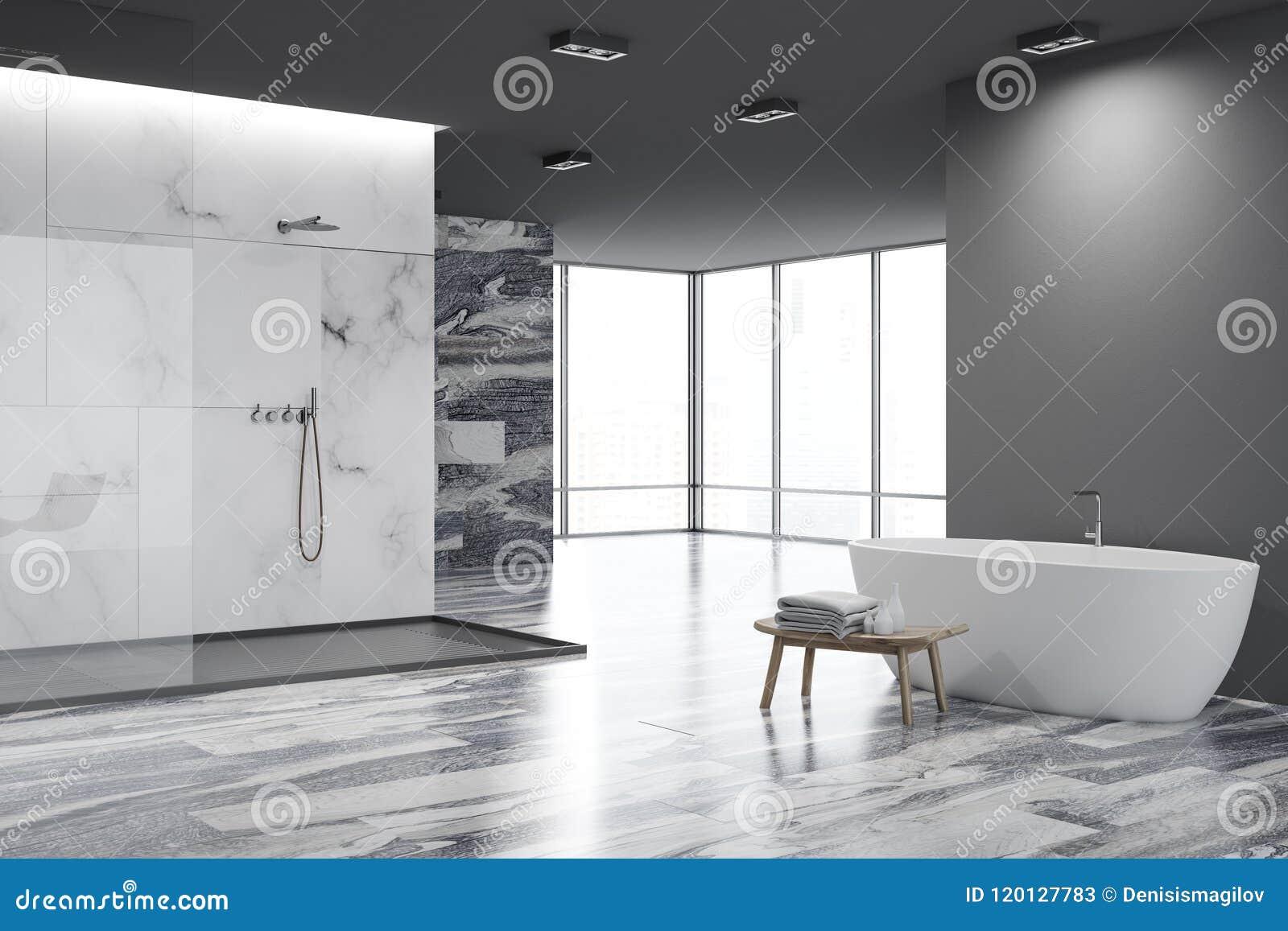 Белый и черный угол ванной комнаты, белый ушат