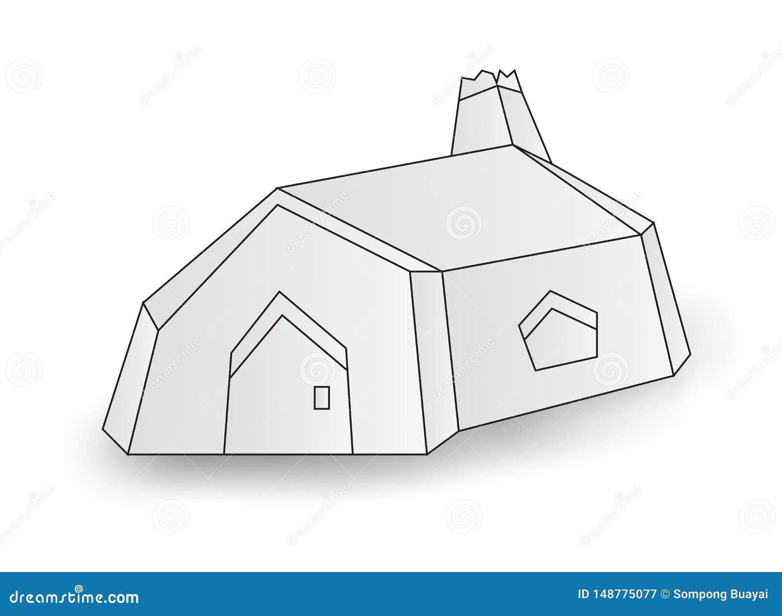 Белый маленький дом, иллюстрация вектора кабины дома, мультфильм