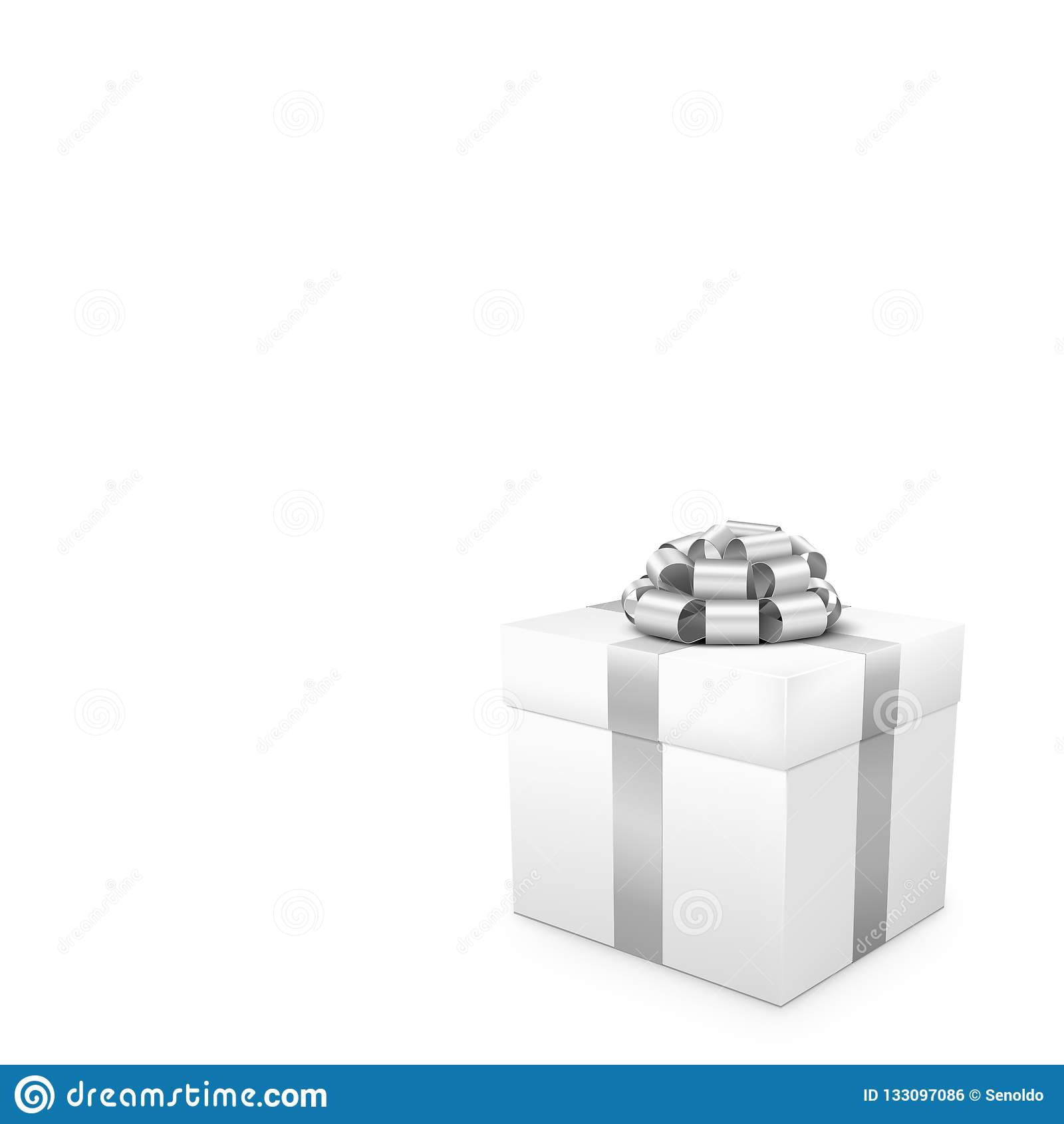 Белый подарок с серебряной лентой в квадратном формате
