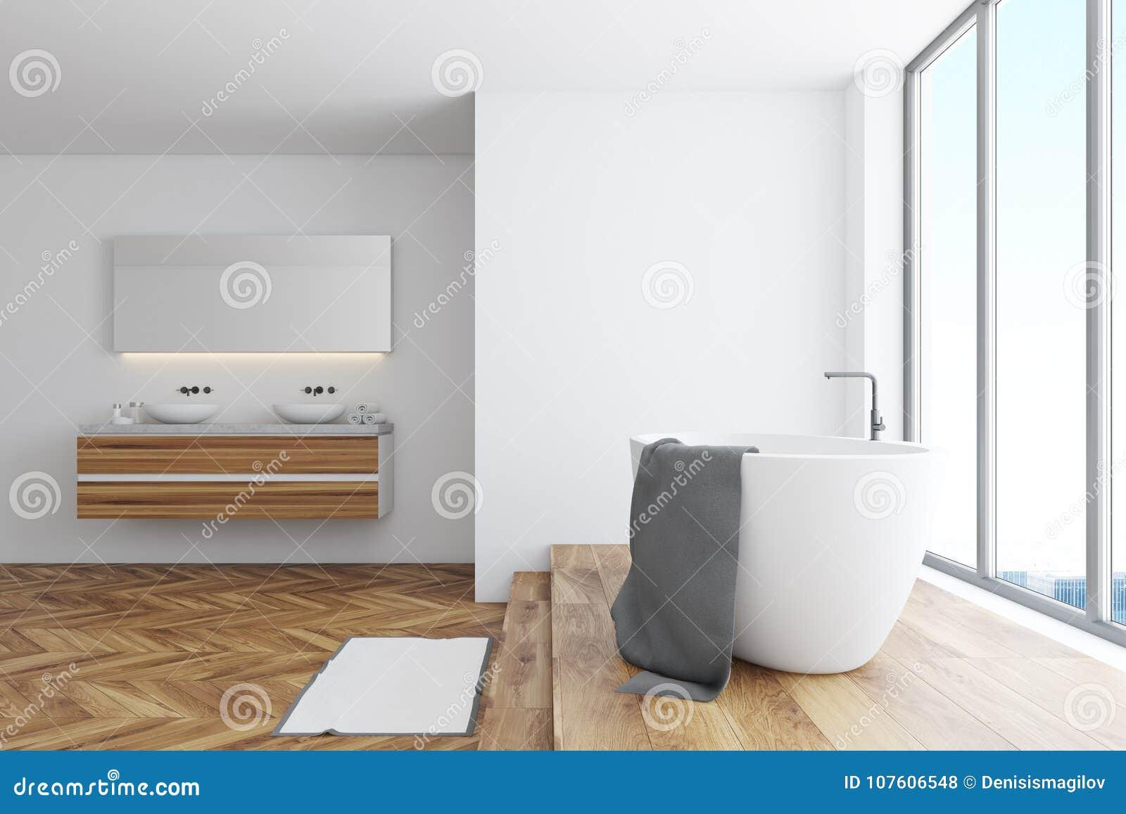 Белый угол ванной комнаты, ушат и двойная раковина