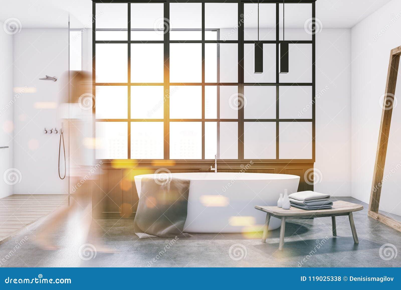 Белый ушат в современной ванной комнате, белизна, женщина нерезкости