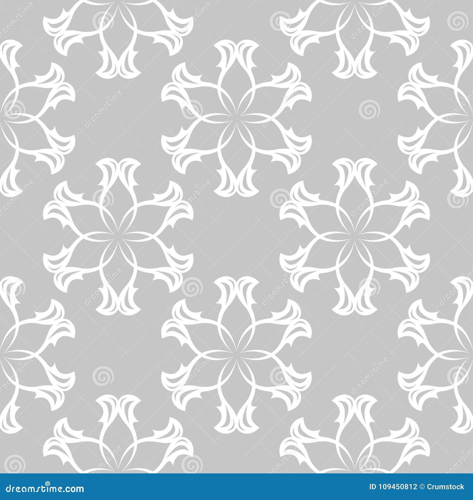 Белый флористический безшовный дизайн на серой предпосылке