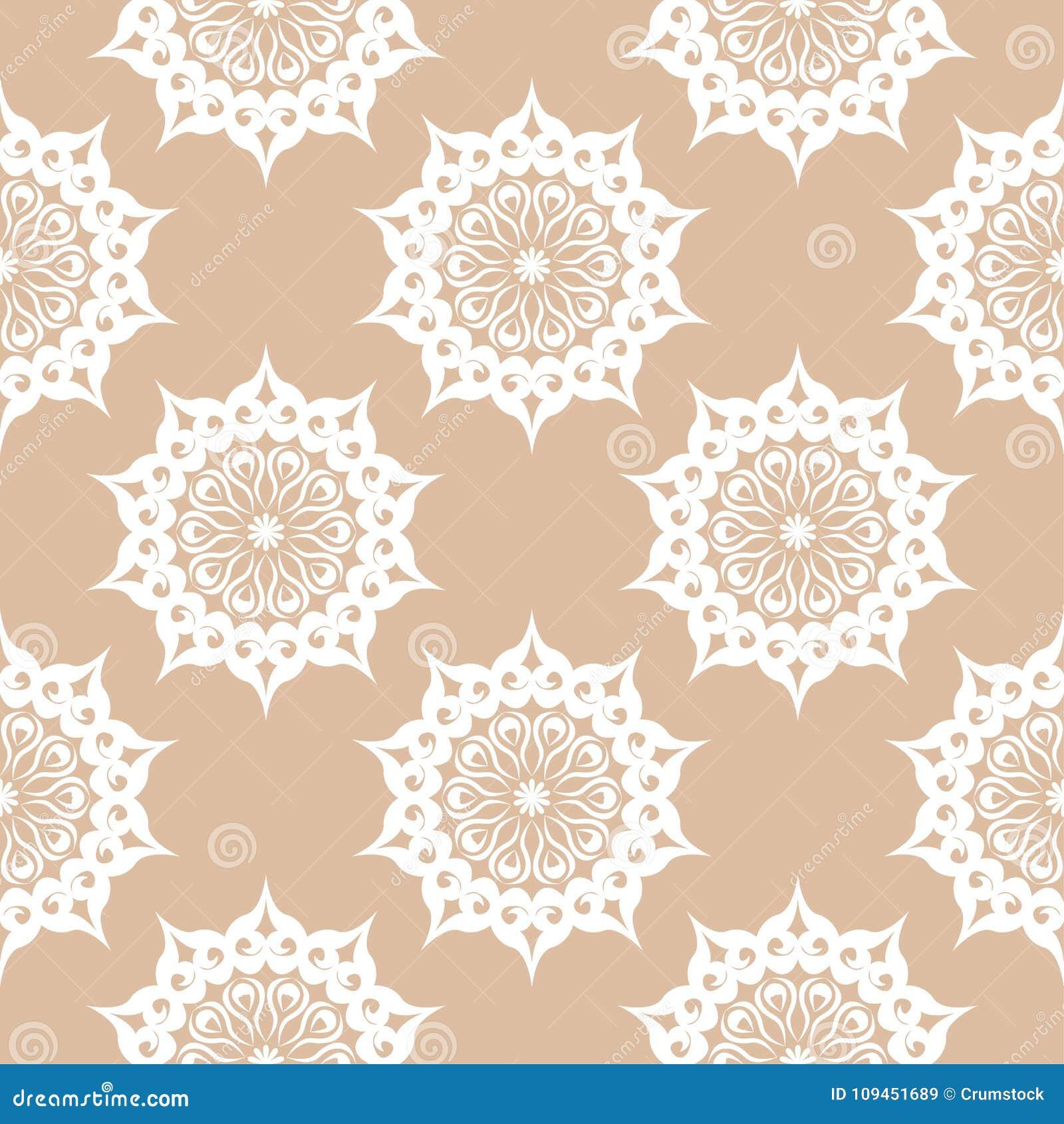 Белый флористический орнамент на бежевой предпосылке картина безшовная